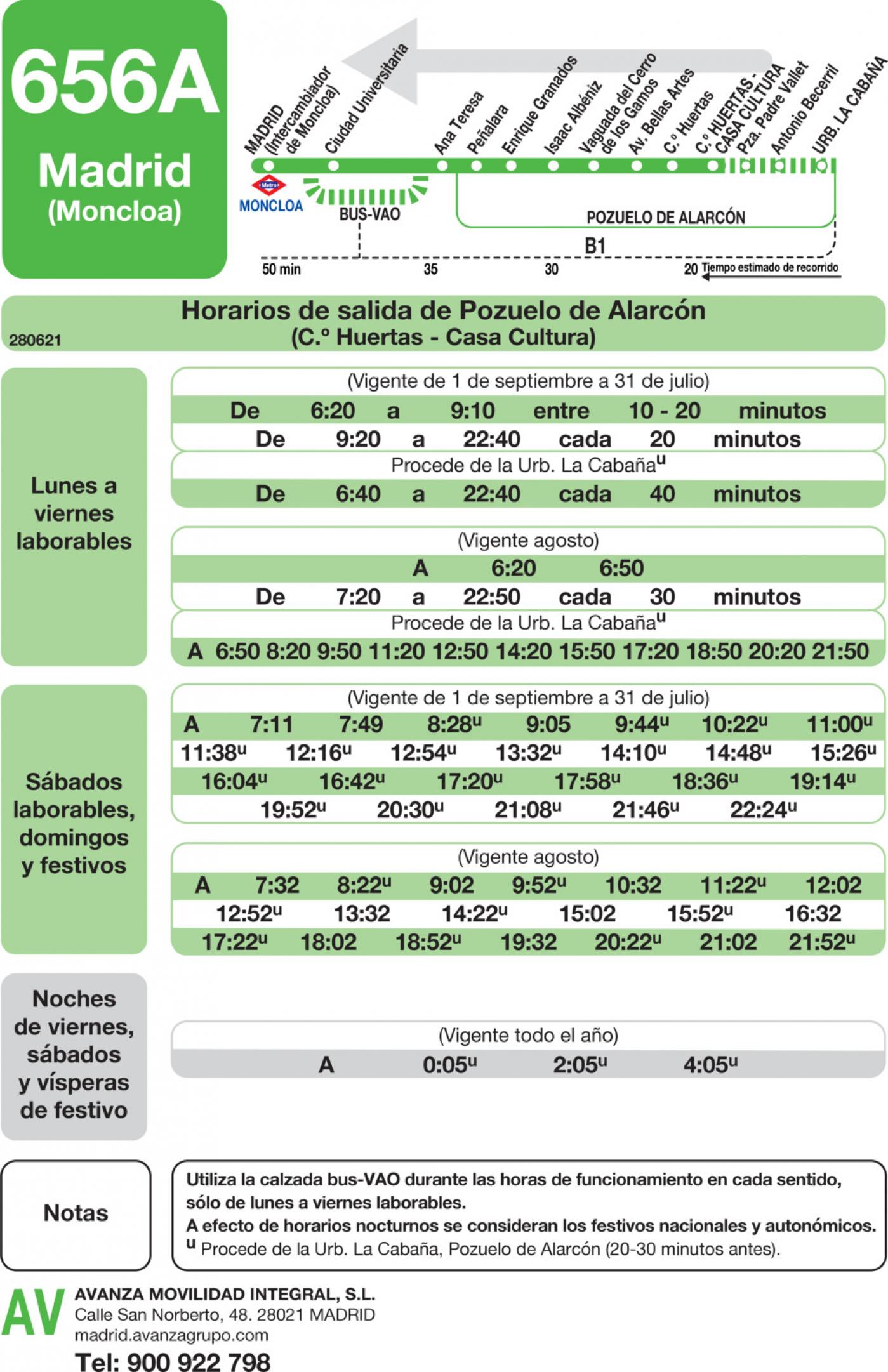 Tabla de horarios y frecuencias de paso en sentido vuelta Línea 656-A: Madrid (Moncloa) - Pozuelo (Calle Huertas)