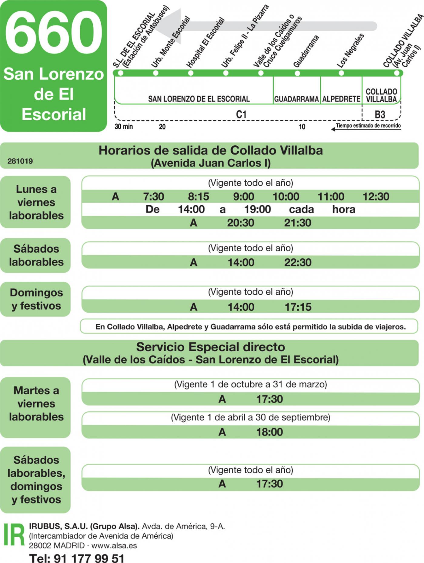 Tabla de horarios y frecuencias de paso en sentido vuelta Línea 660: San Lorenzo de El Escorial - Guadarrama - Villalba