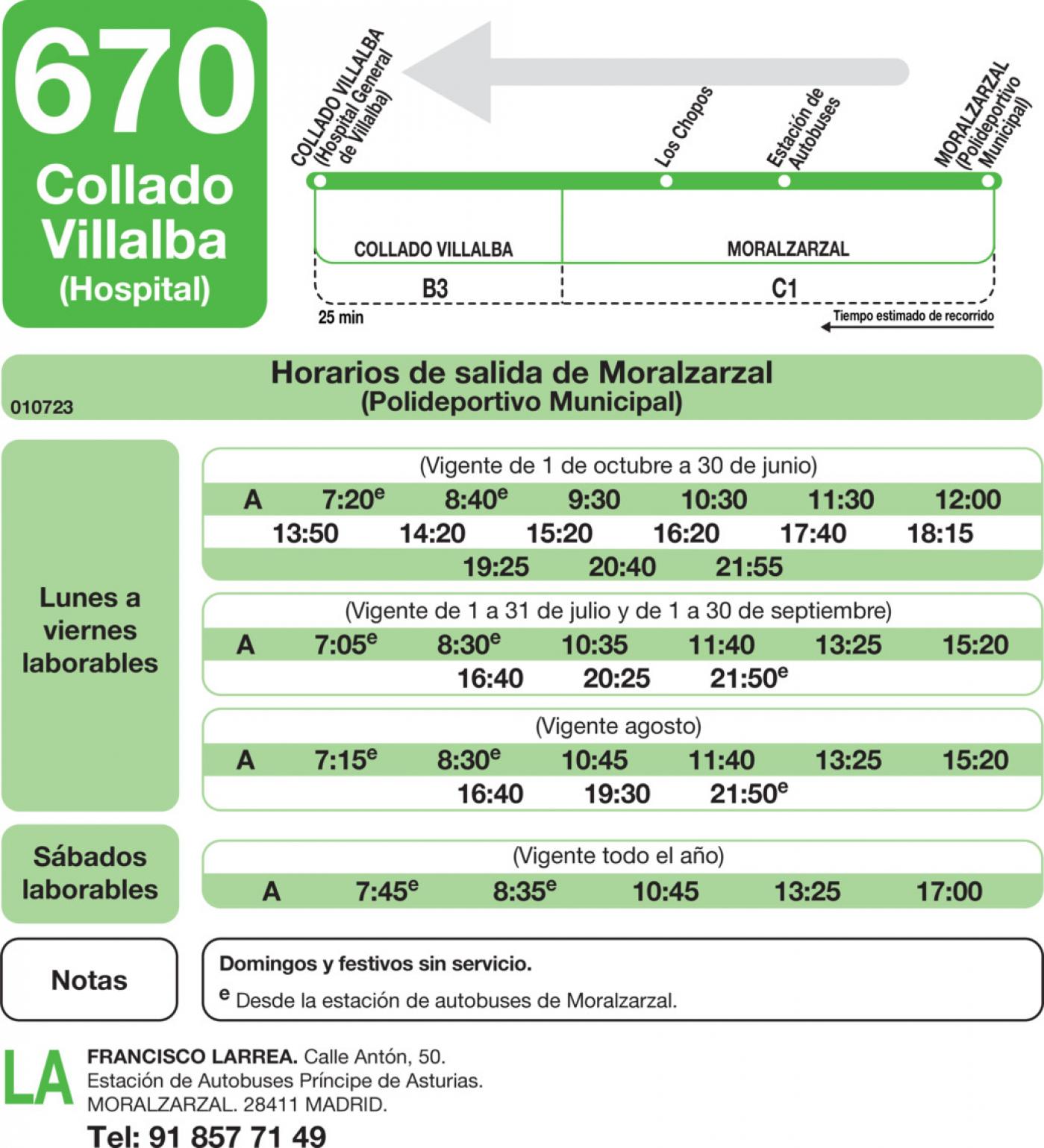 Tabla de horarios y frecuencias de paso en sentido vuelta Línea 670: Collado Villalba (Hospital) - Moralzarzal