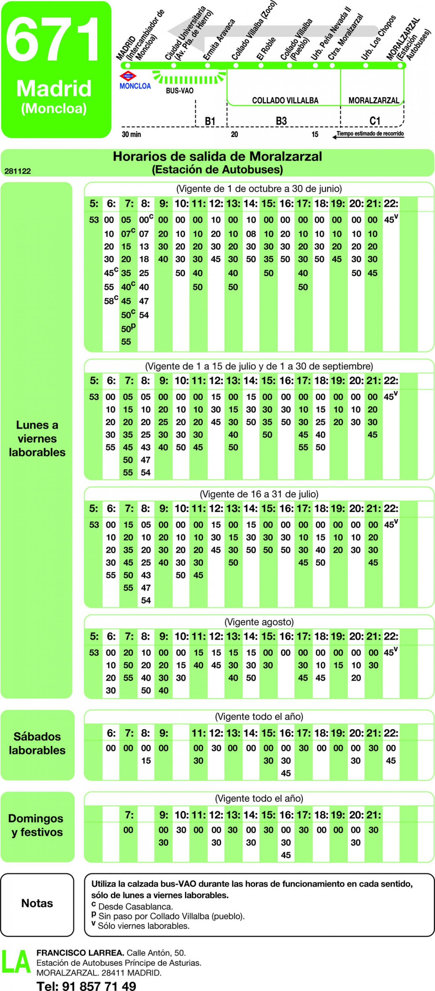 Tabla de horarios y frecuencias de paso en sentido vuelta Línea 671: Madrid (Moncloa) - Moralzarzal