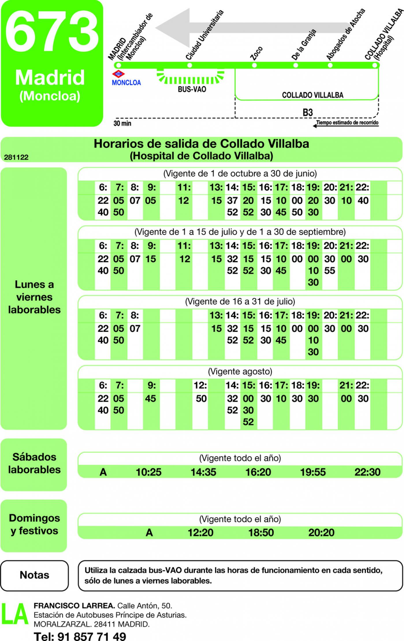 Tabla de horarios y frecuencias de paso en sentido vuelta Línea 673: Madrid (Moncloa) - Collado Villalba (Los Valles)