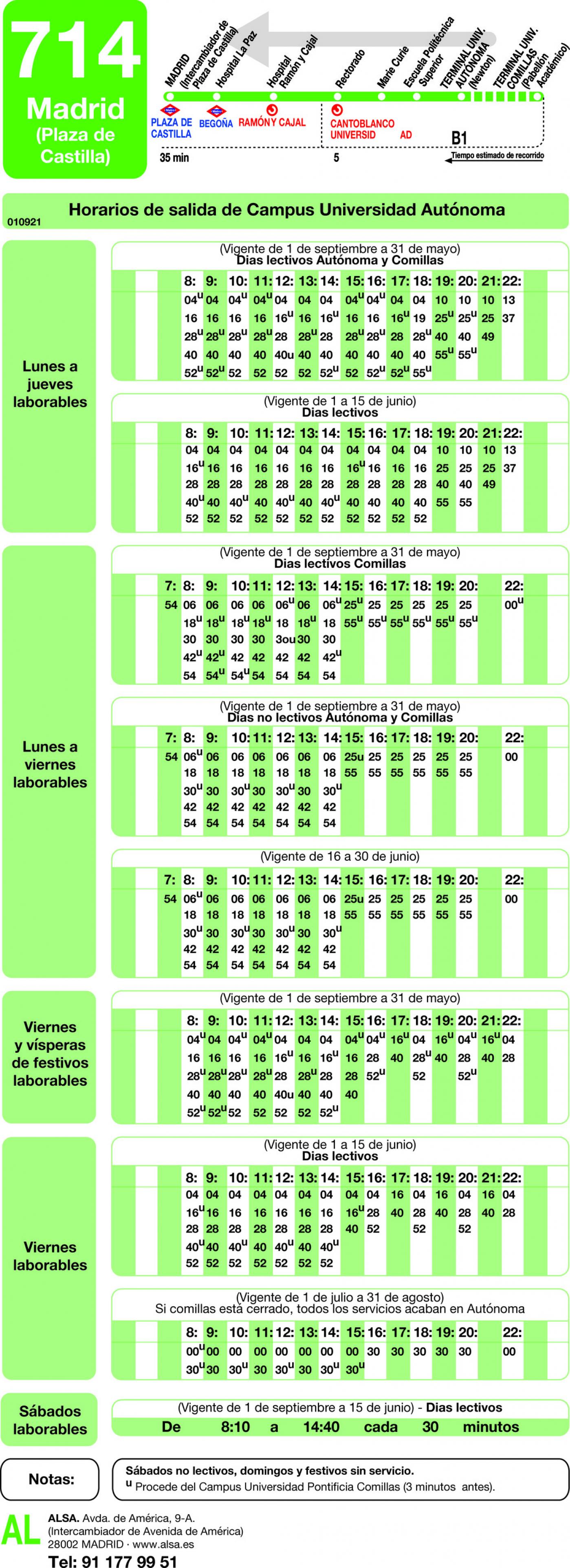 Tabla de horarios y frecuencias de paso en sentido vuelta Línea 714: Madrid (Plaza Castilla) - Universidad Autónoma - Universidad de Comillas