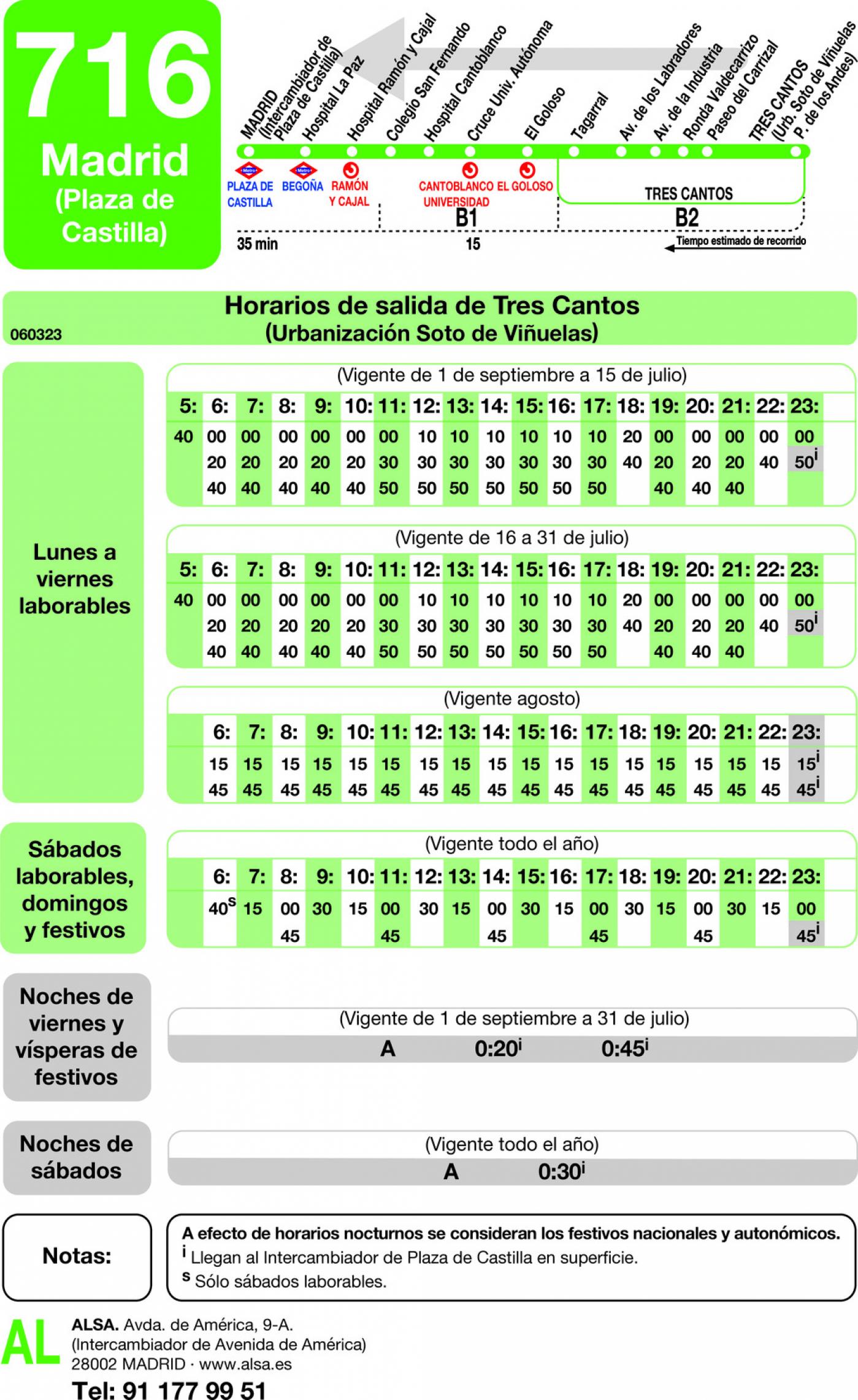Tabla de horarios y frecuencias de paso en sentido vuelta Línea 716: Madrid (Plaza Castilla) - Tres Cantos (Soto de Viñuelas)