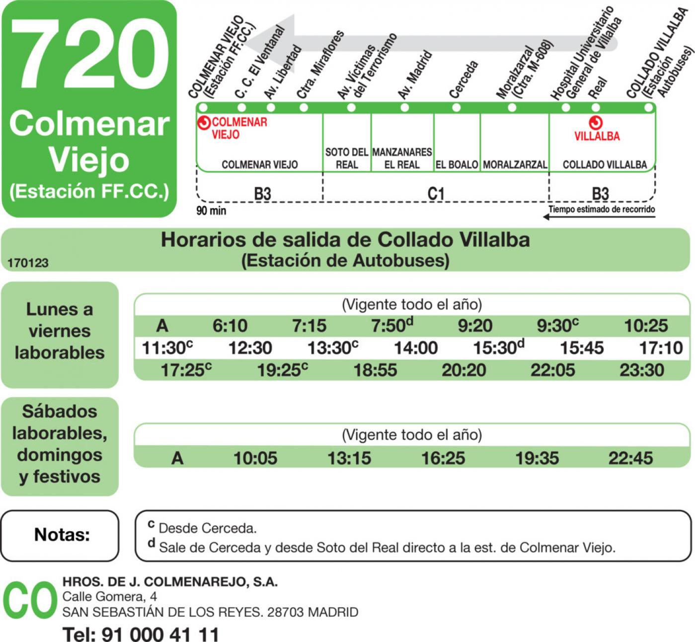 Tabla de horarios y frecuencias de paso en sentido vuelta Línea 720: Colmenar Viejo - Collado Villalba