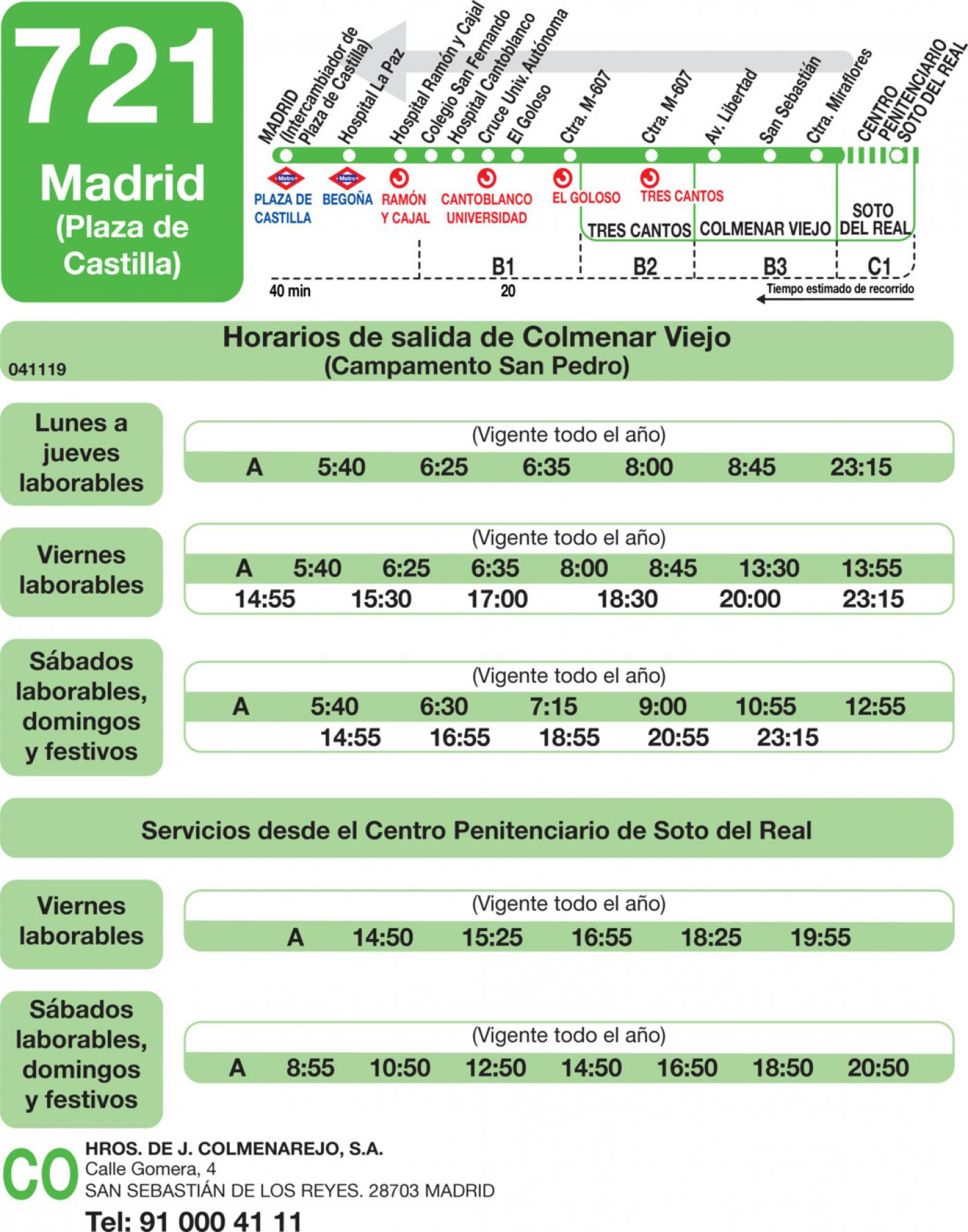 Tabla de horarios y frecuencias de paso en sentido vuelta Línea 721: Madrid (Plaza Castilla) - Colmenar Viejo