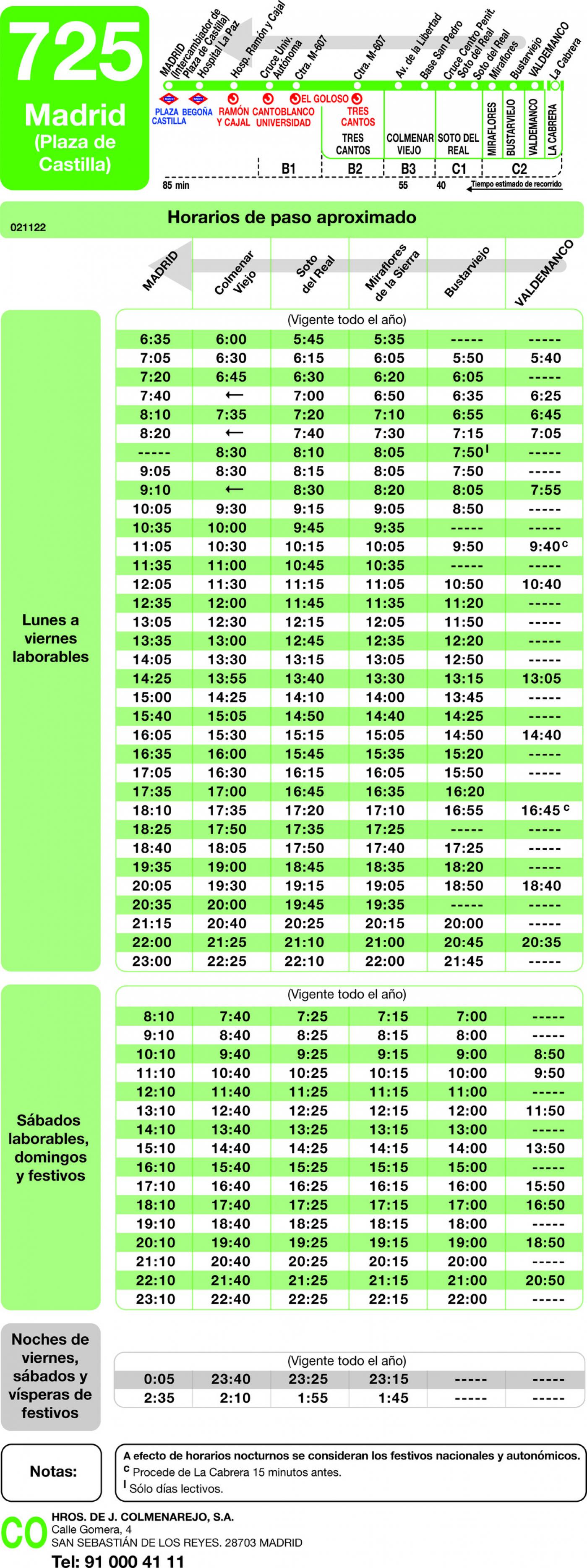 Tabla de horarios y frecuencias de paso en sentido vuelta Línea 725: Madrid (Plaza Castilla) - Miraflores - Bustarviejo - Valdemanco