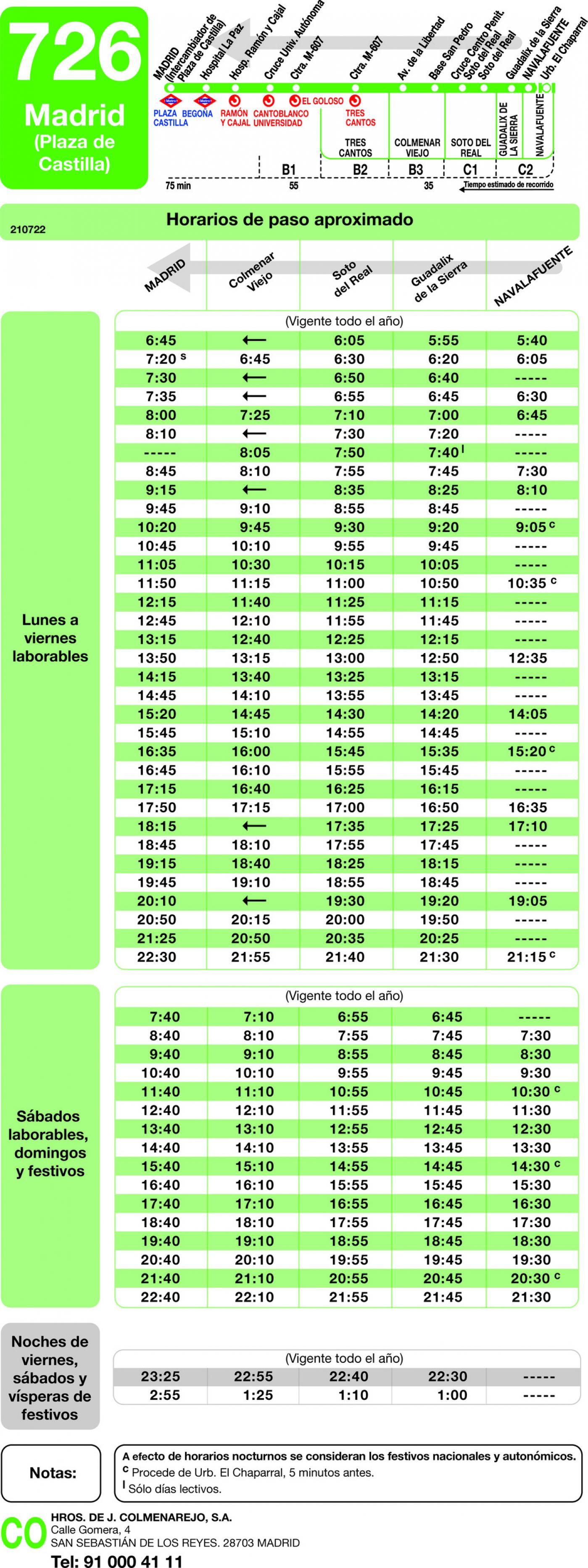 Tabla de horarios y frecuencias de paso en sentido vuelta Línea 726: Madrid (Plaza Castilla) - Guadalix - Navalafuente