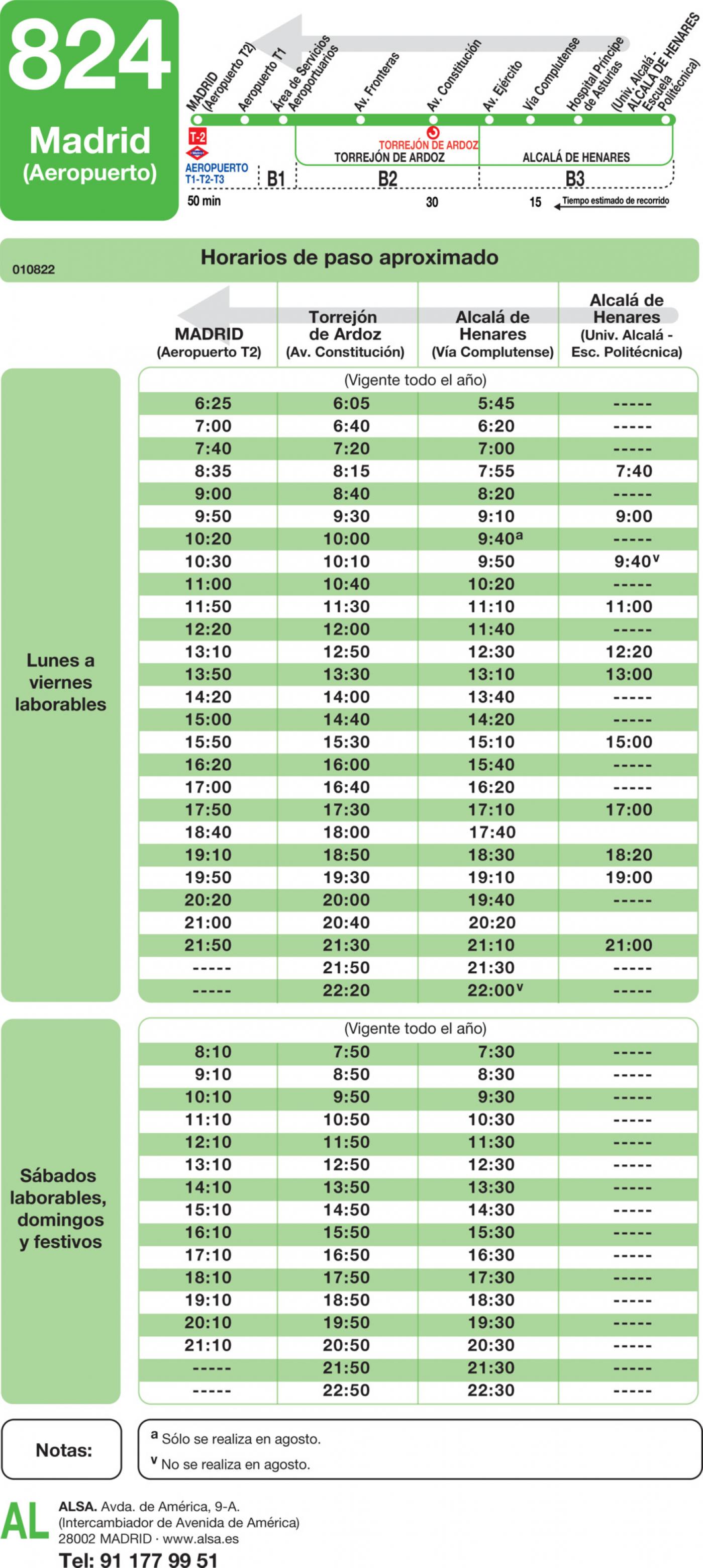 Tabla de horarios y frecuencias de paso en sentido vuelta Línea 824: Madrid (Aeropuerto Barajas) - Torrejón de Ardoz