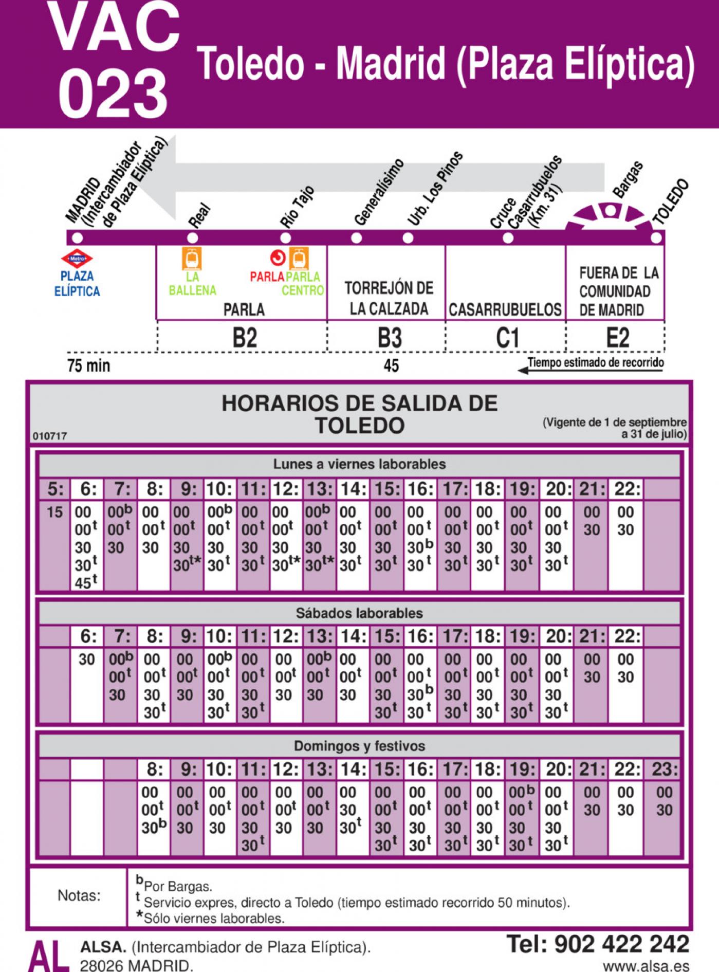 Tabla de horarios y frecuencias de paso en sentido vuelta Línea VAC-023: Madrid (Plaza Elíptica) - Toledo