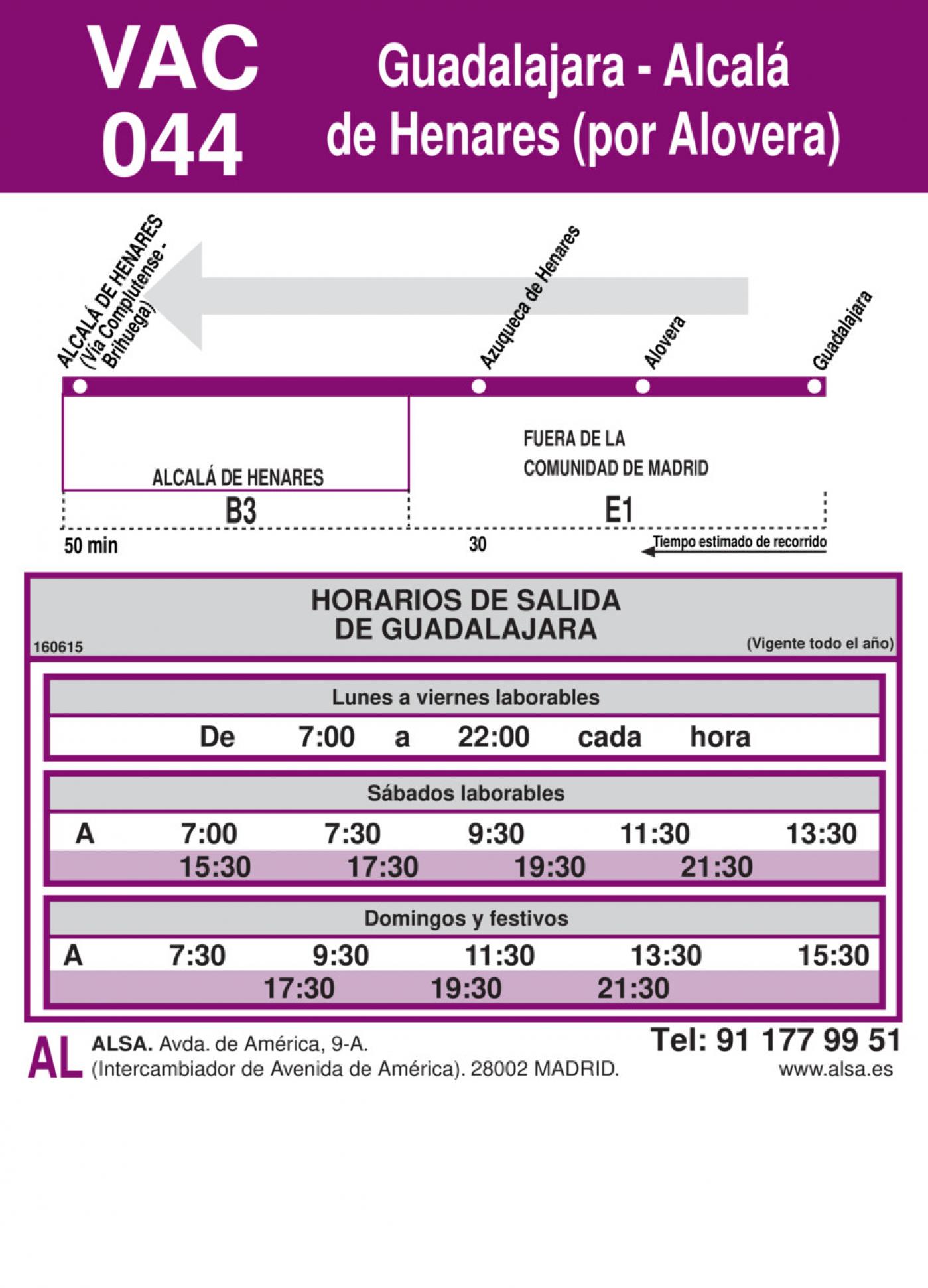 Tabla de horarios y frecuencias de paso en sentido vuelta Línea VAC-044: Alcalá de Henares - Guadalajara (Alovera)
