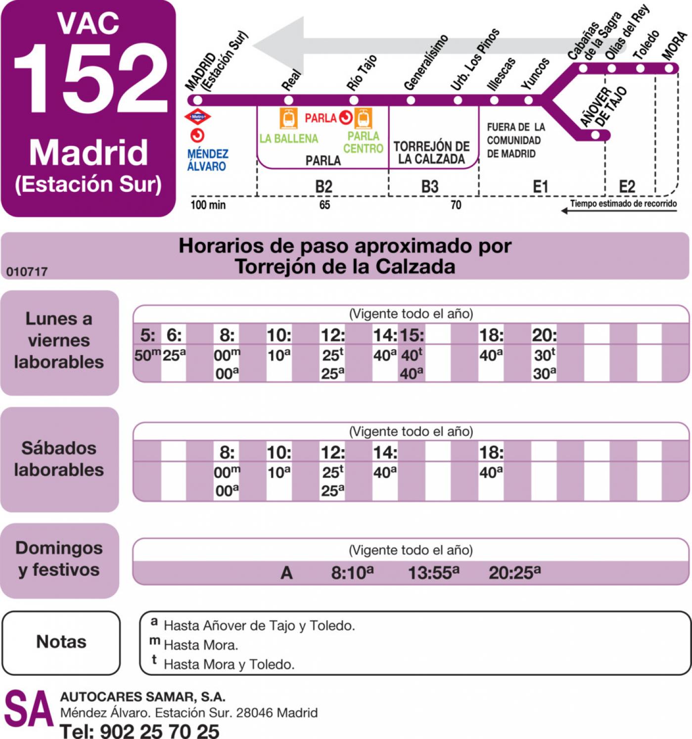 Tabla de horarios y frecuencias de paso en sentido vuelta Línea VAC-152: Madrid (Estación Sur) - Piedrabuena