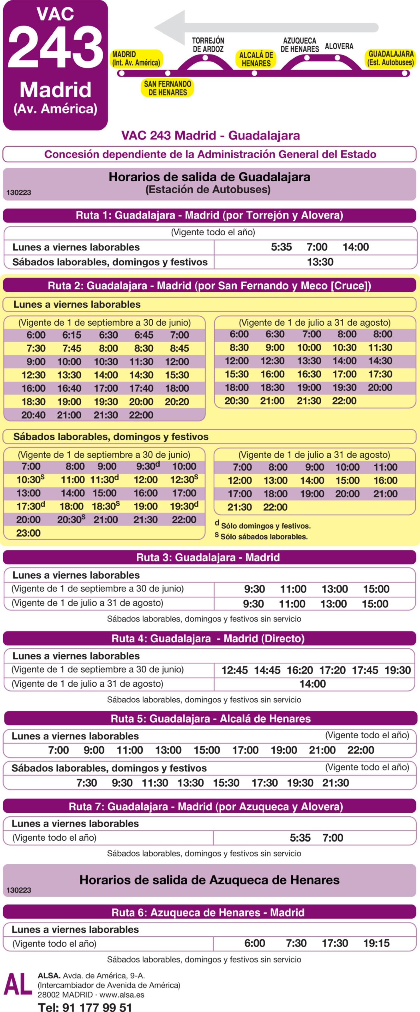 Tabla de horarios y frecuencias de paso en sentido vuelta Línea VAC-243  2: Ruta 2: Madrid - Guadalajara (por San Fernando y Meco)
