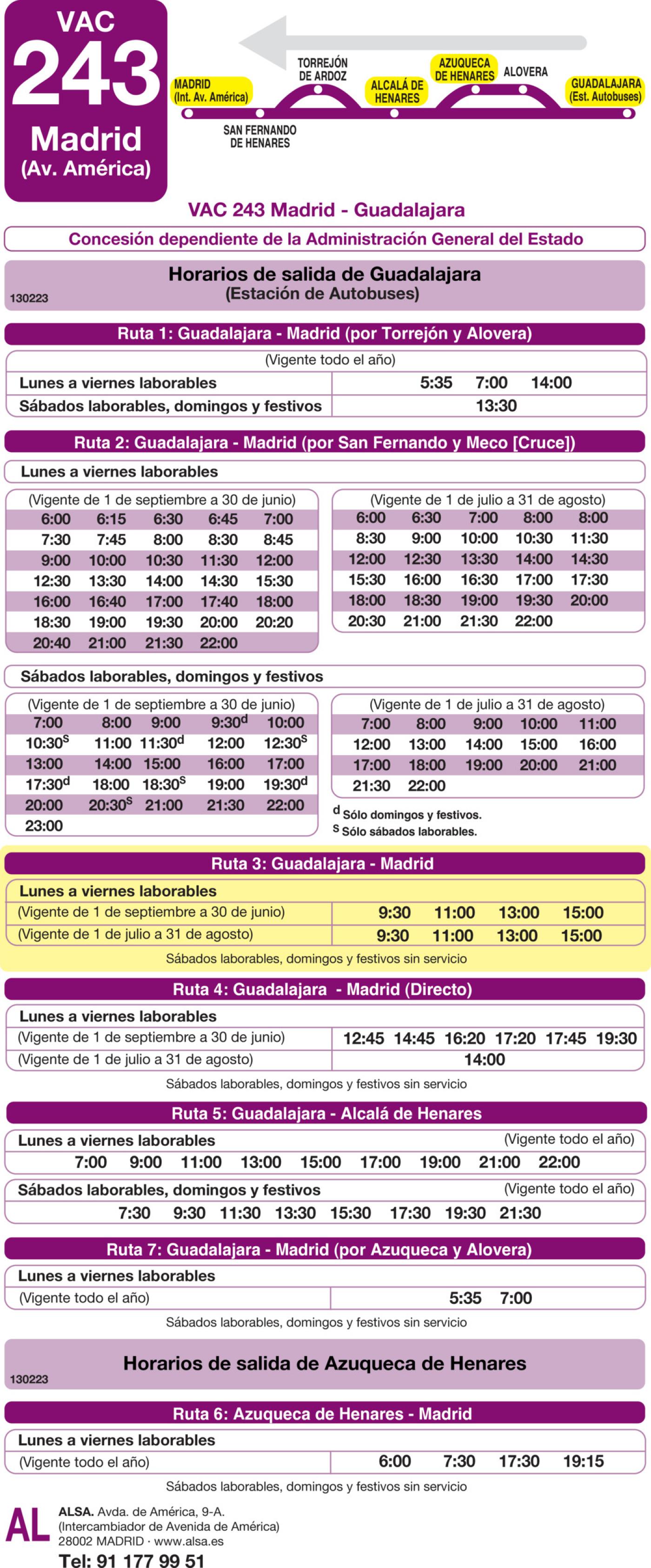 Tabla de horarios y frecuencias de paso en sentido vuelta Línea VAC-243  3: Ruta 3: Madrid - Guadalajara