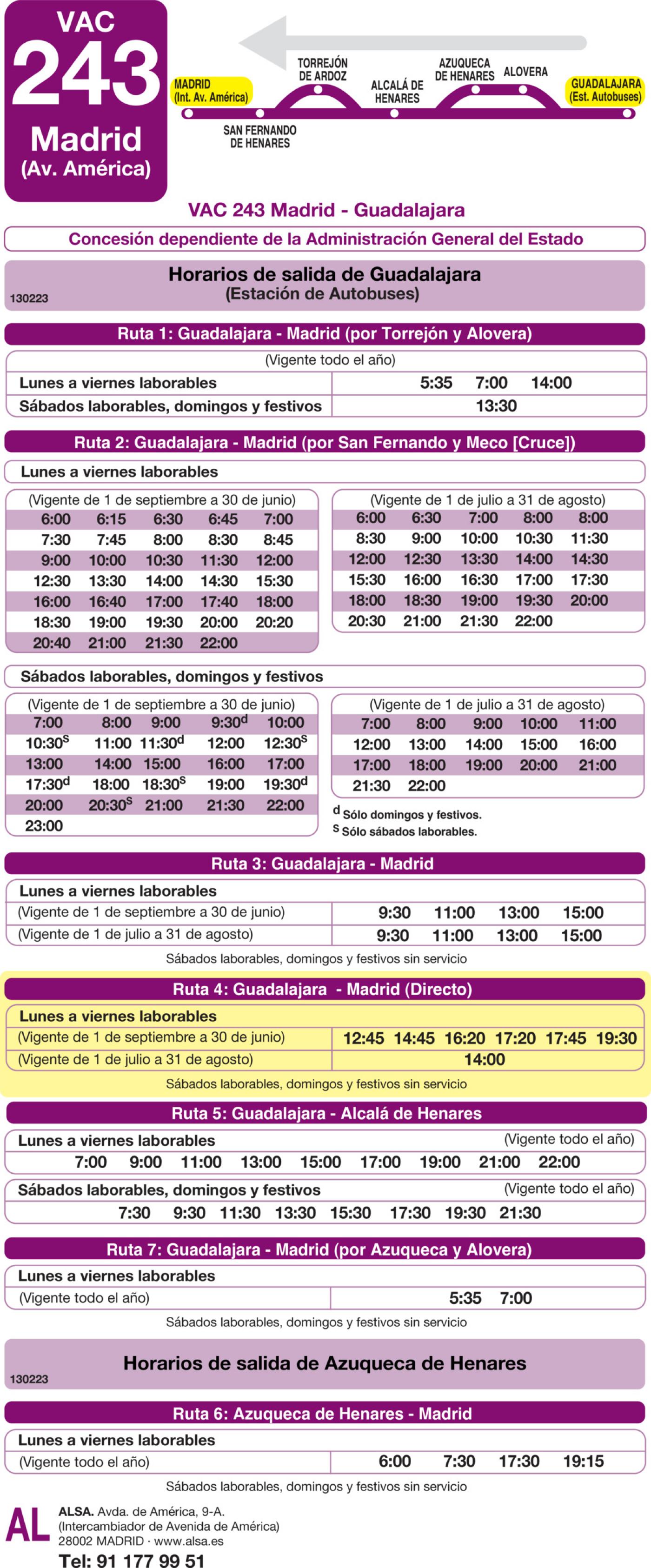 Tabla de horarios y frecuencias de paso en sentido vuelta Línea VAC-243  4: Ruta 4: Madrid - Guadalajara (directo)
