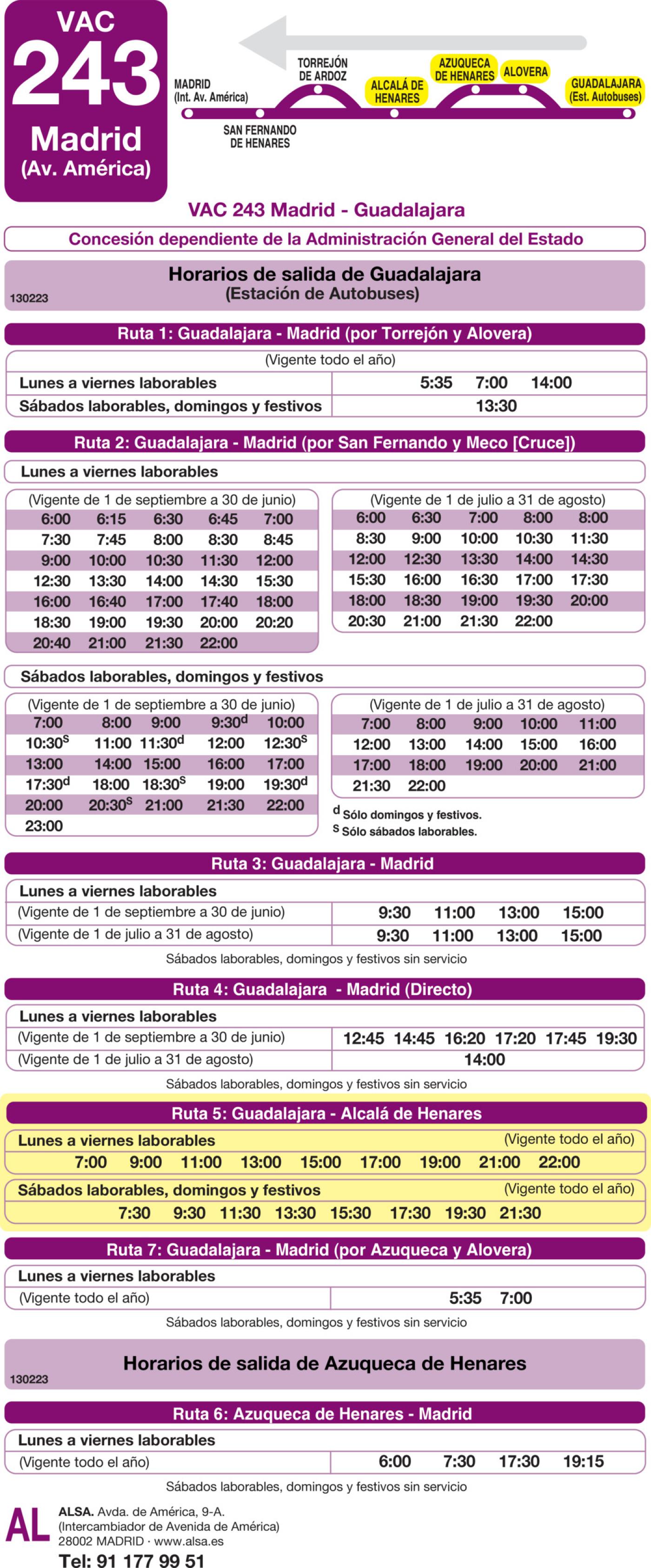 Tabla de horarios y frecuencias de paso en sentido vuelta Línea VAC-243  5: Ruta 5: Guadalajara - Alcalá de Henares