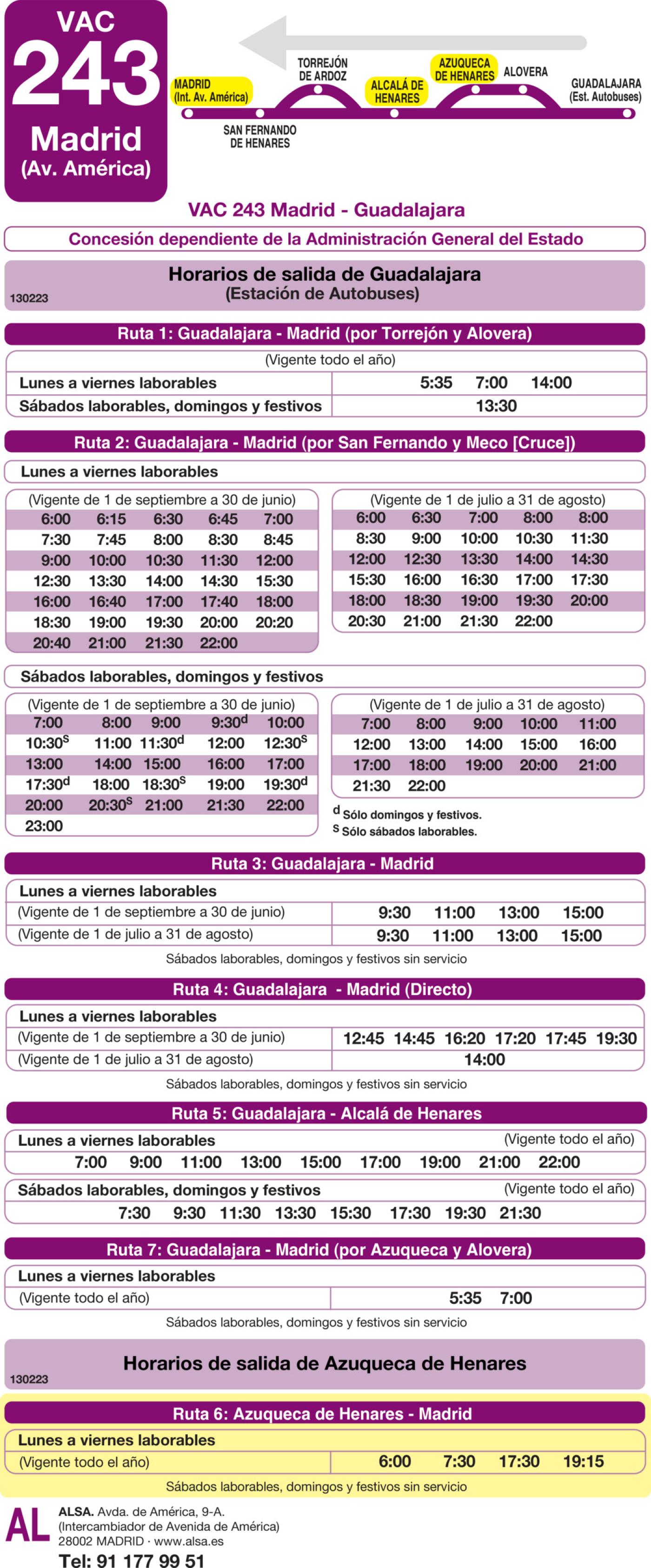 Tabla de horarios y frecuencias de paso en sentido vuelta Línea VAC-243  6: Ruta 6: Madrid - Azuqueca de Henares