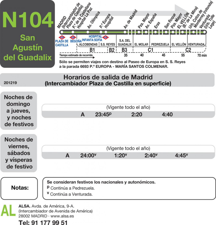 Tabla de horarios y frecuencias de paso en sentido ida Línea N-104: Madrid (Plaza Castilla) - San Agustín de Guadalix