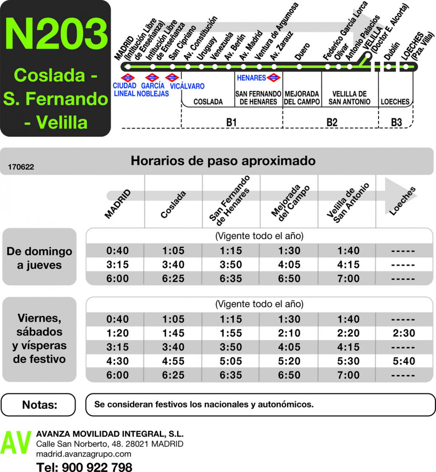 Tabla de horarios y frecuencias de paso en sentido ida Línea N-203: Madrid (Ciudad Lineal) - Coslada - San Fernando - Velilla - Loeches