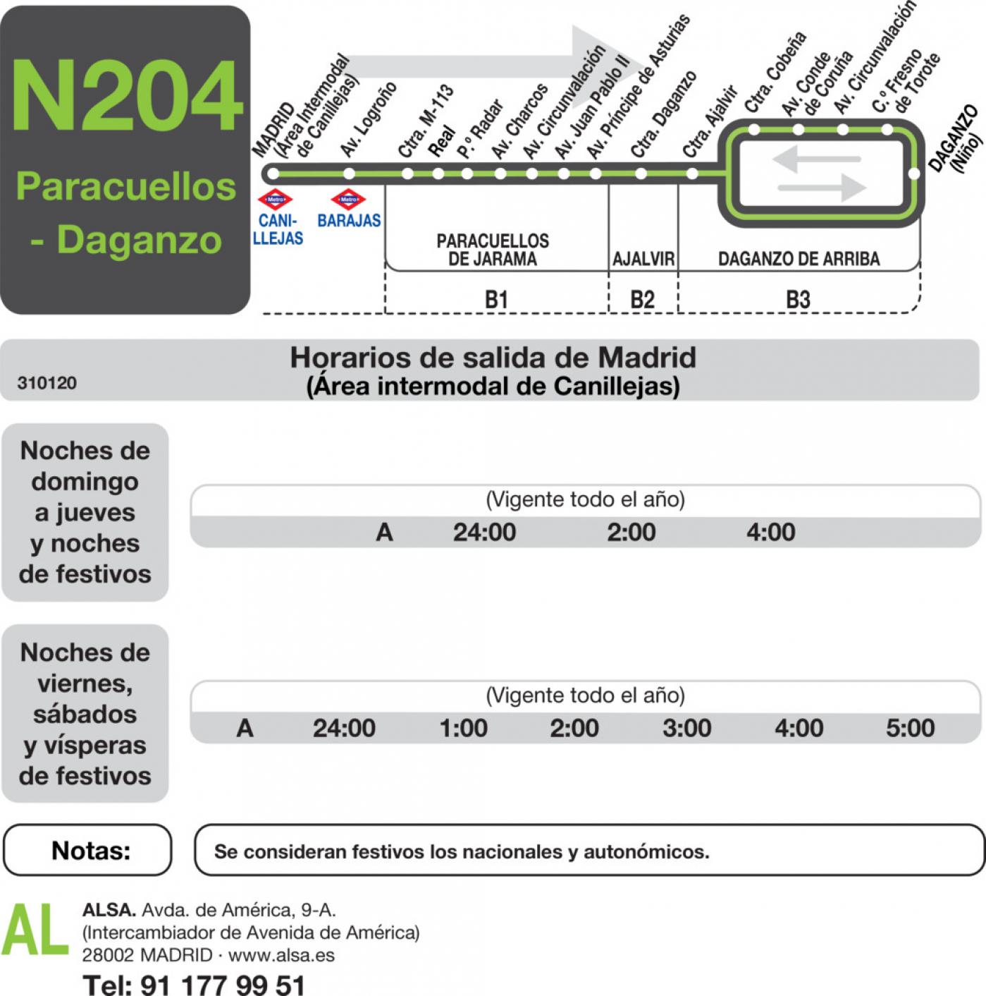 Tabla de horarios y frecuencias de paso en sentido ida Línea N-204: Madrid (Canillejas) - Paracuellos - Daganzo