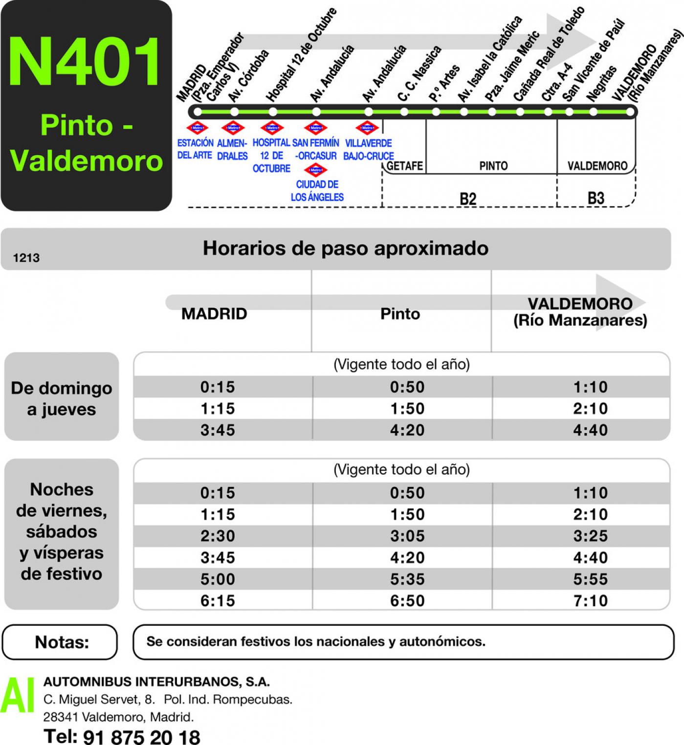 Tabla de horarios y frecuencias de paso en sentido ida Línea N-401: Madrid (Atocha) - Pinto - Valdemoro