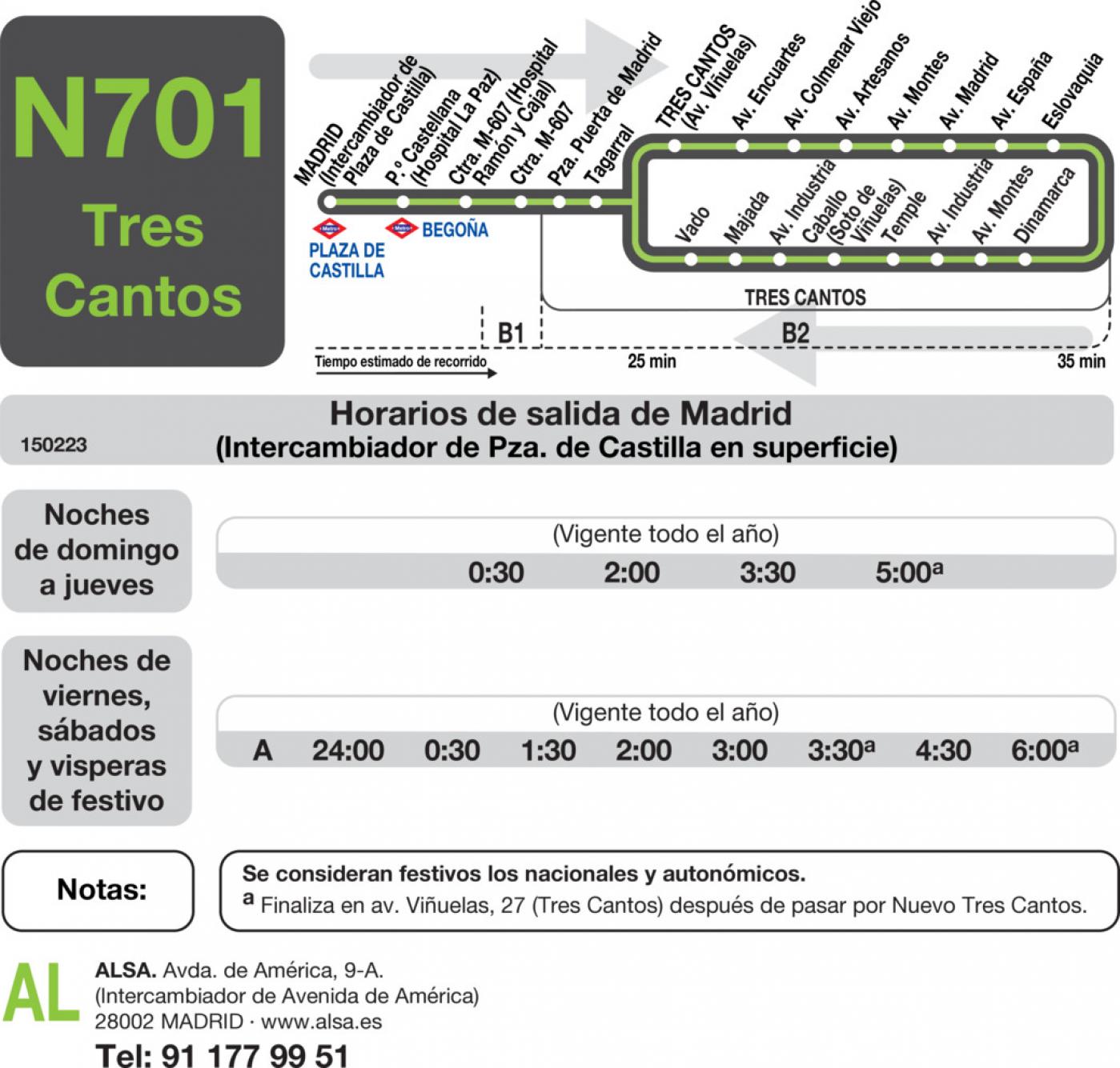 Tabla de horarios y frecuencias de paso en sentido ida Línea N-701: Madrid (Plaza Castilla) -Tres Cantos