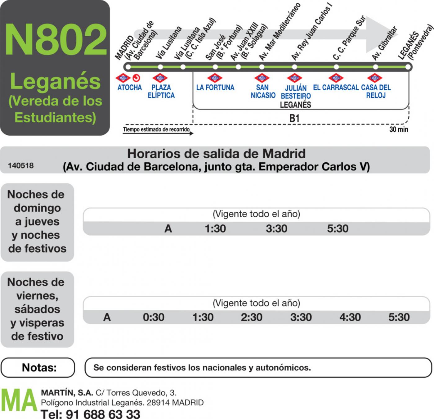 Tabla de horarios y frecuencias de paso en sentido ida Línea N-802: Madrid (Aluche) - Leganés