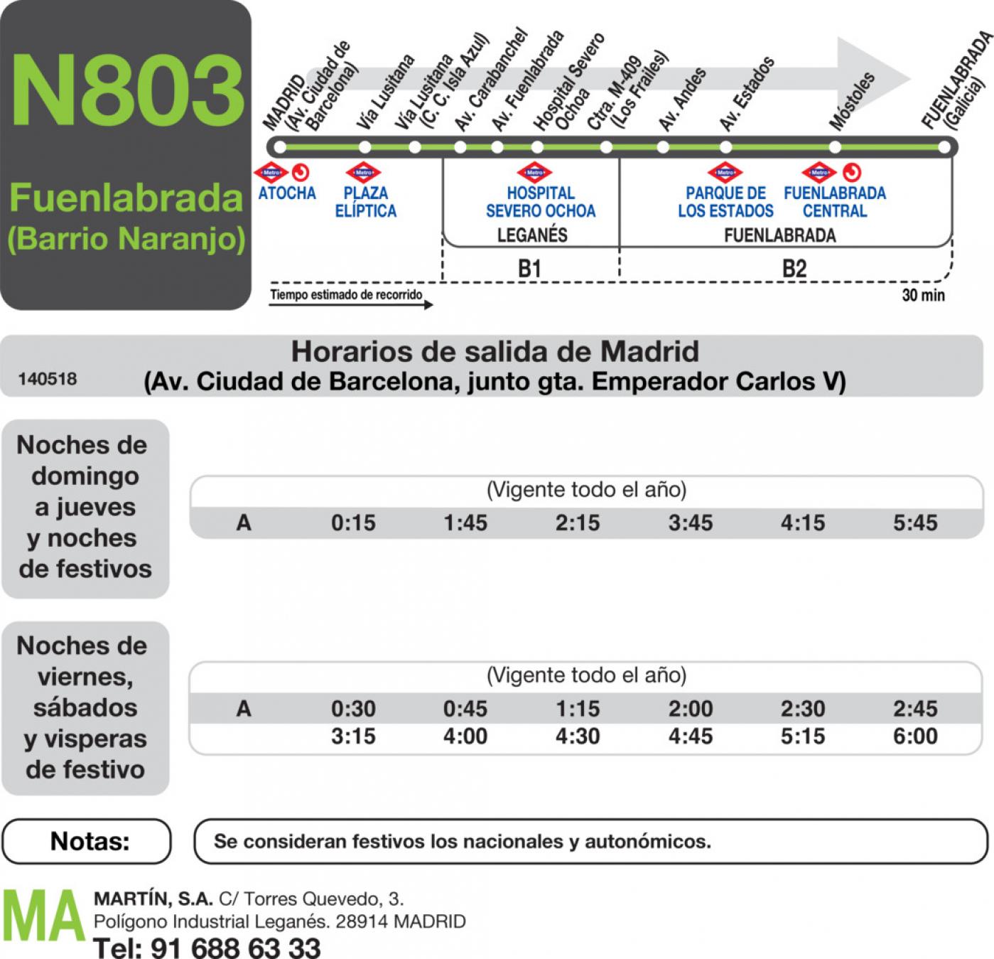 Tabla de horarios y frecuencias de paso en sentido ida Línea N-803: Madrid (Aluche) - Fuenlabrada (Barrio del Naranjo)