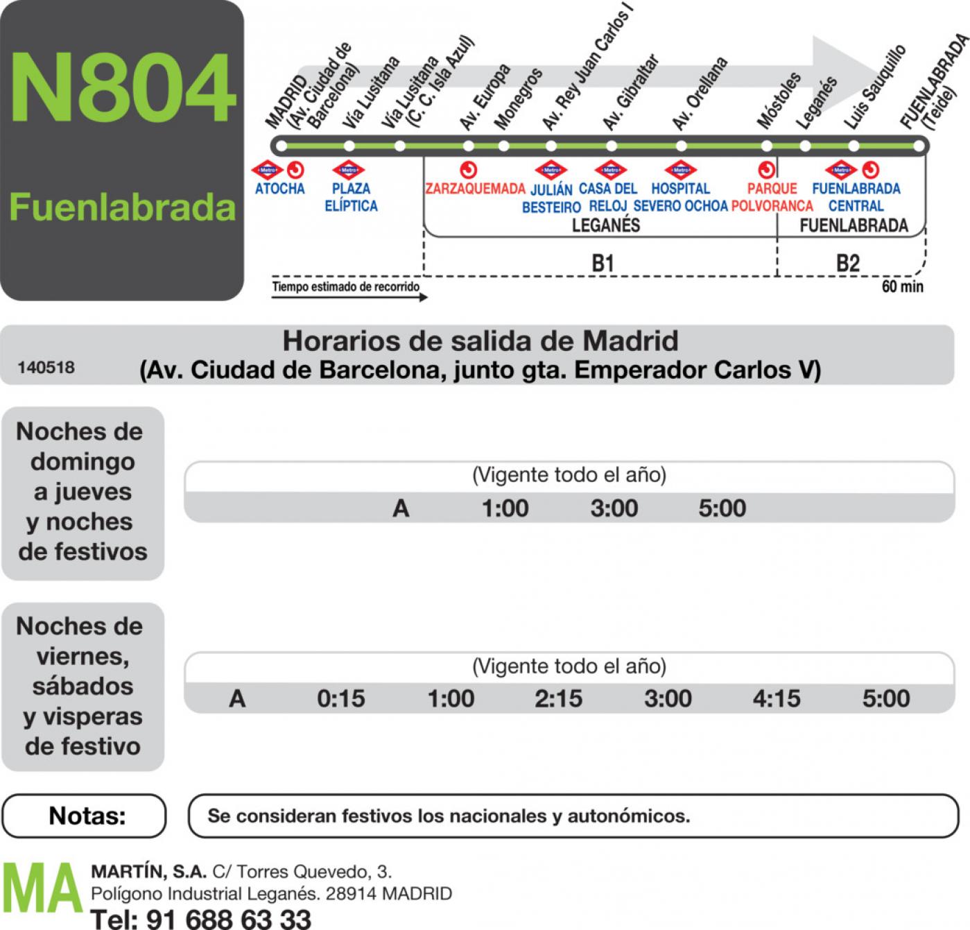 Tabla de horarios y frecuencias de paso en sentido ida Línea N-804: Madrid (Aluche) - Leganés (Arroyo Culebro)