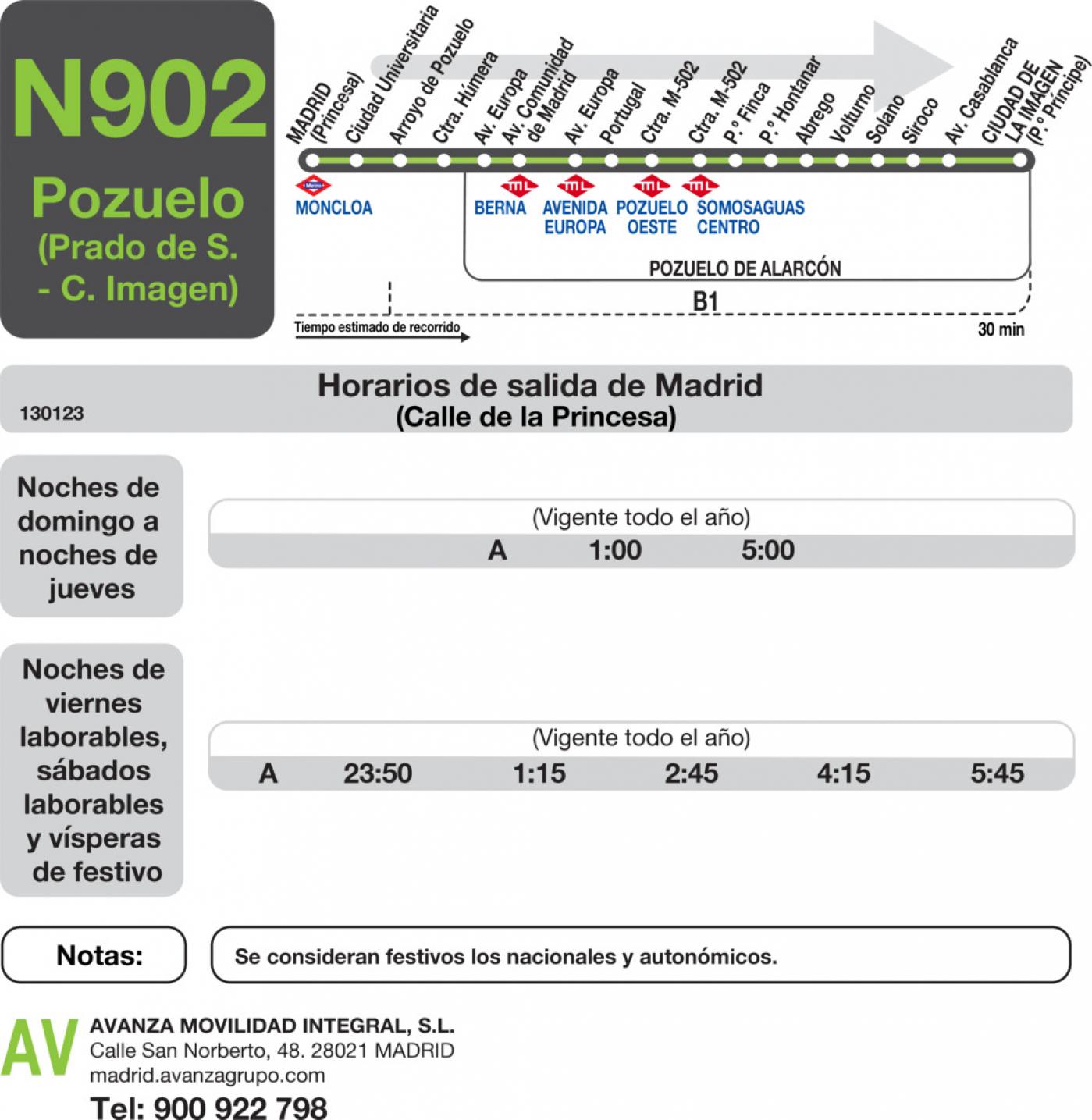 Tabla de horarios y frecuencias de paso en sentido ida Línea N-902: Madrid (Moncloa) - Pozuelo (Prado Somosaguas - Ciudad de la Imagen)
