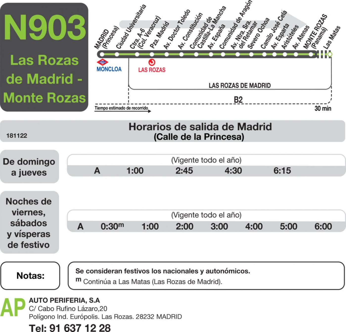 Tabla de horarios y frecuencias de paso en sentido ida Línea N-903: Madrid (Moncloa) - Las Rozas - Monte Rozas
