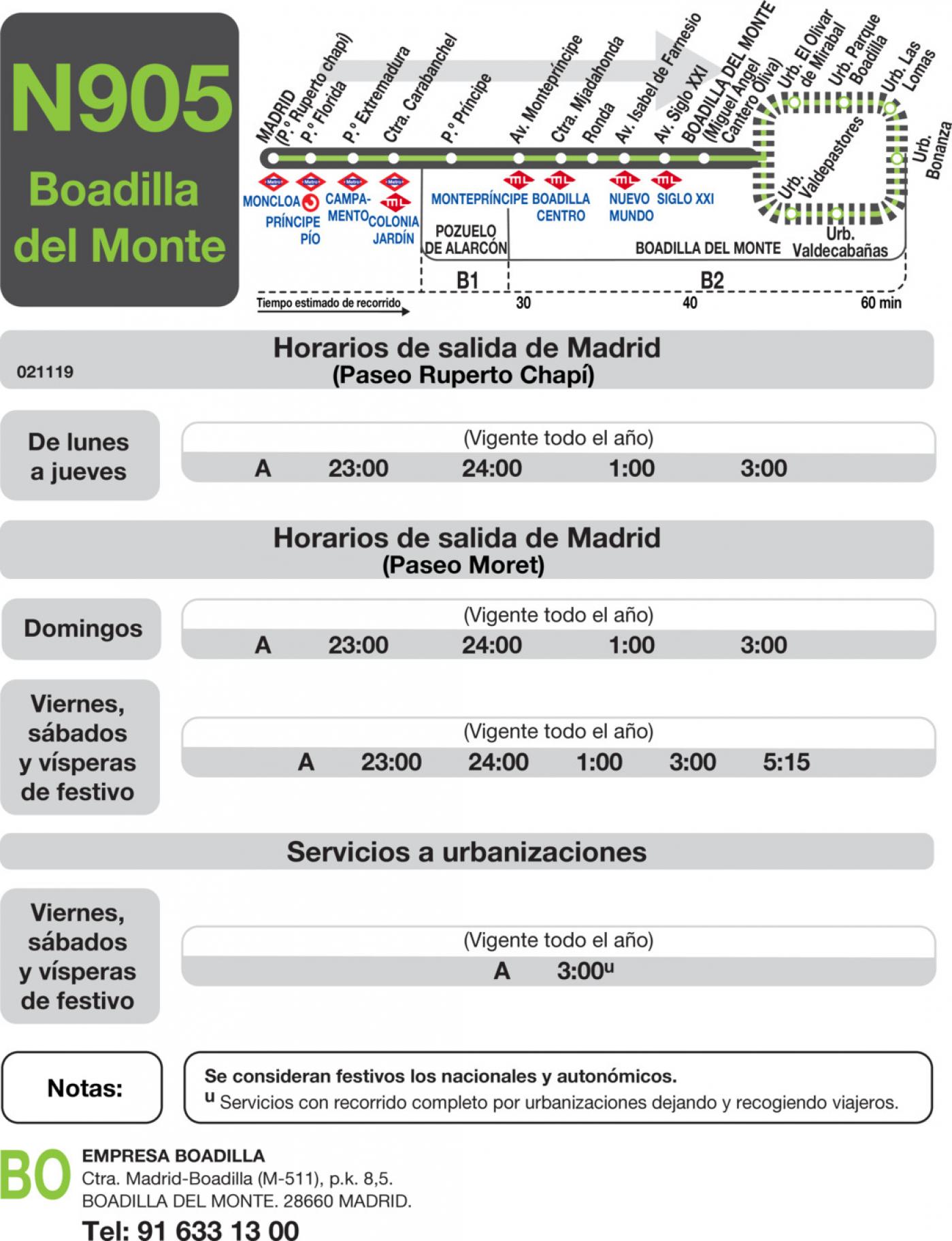 Tabla de horarios y frecuencias de paso en sentido ida Línea N-905: Madrid (Moncloa) - Boadilla del Monte