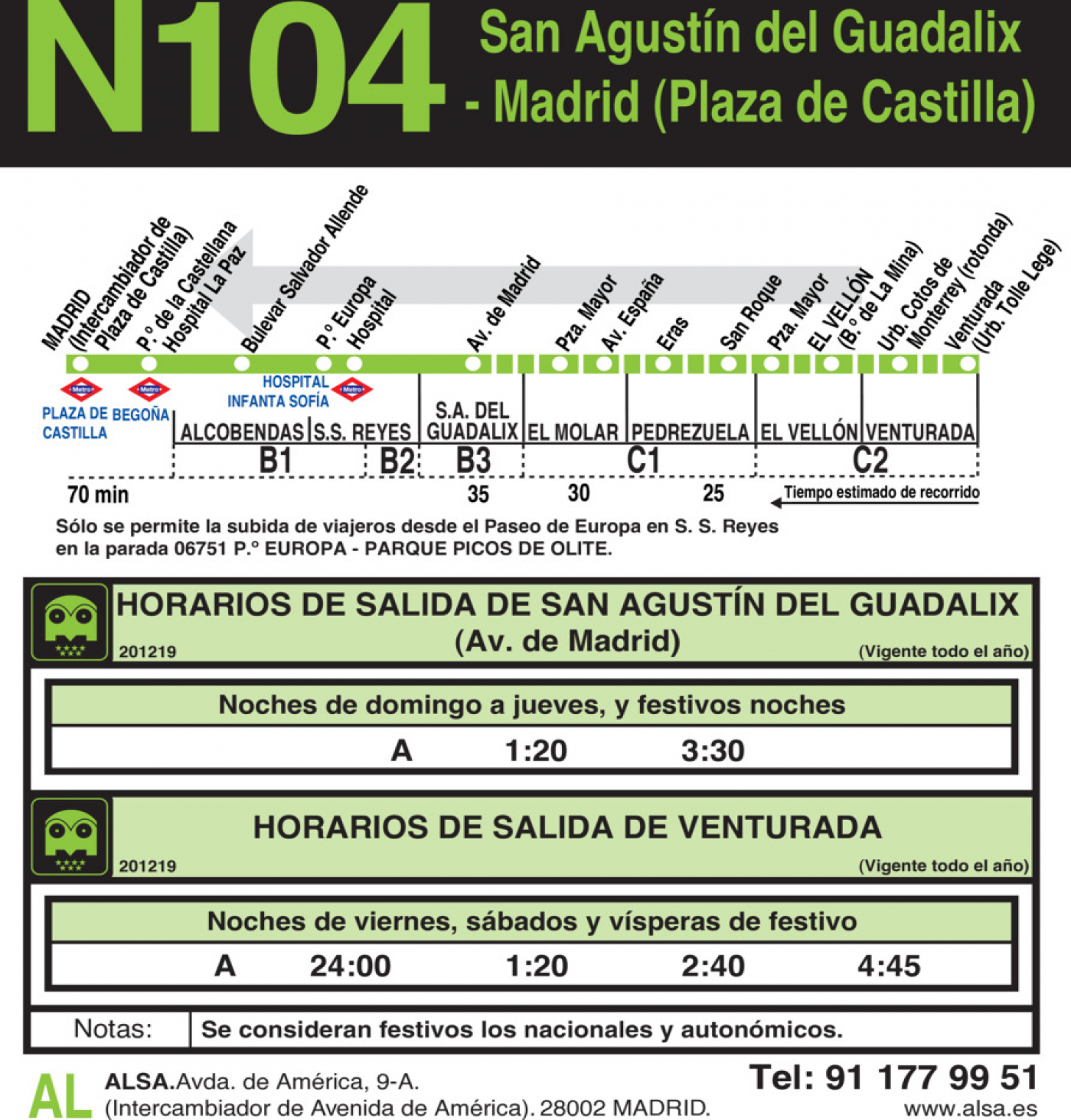 Tabla de horarios y frecuencias de paso en sentido vuelta Línea N-104: Madrid (Plaza Castilla) - San Agustín de Guadalix