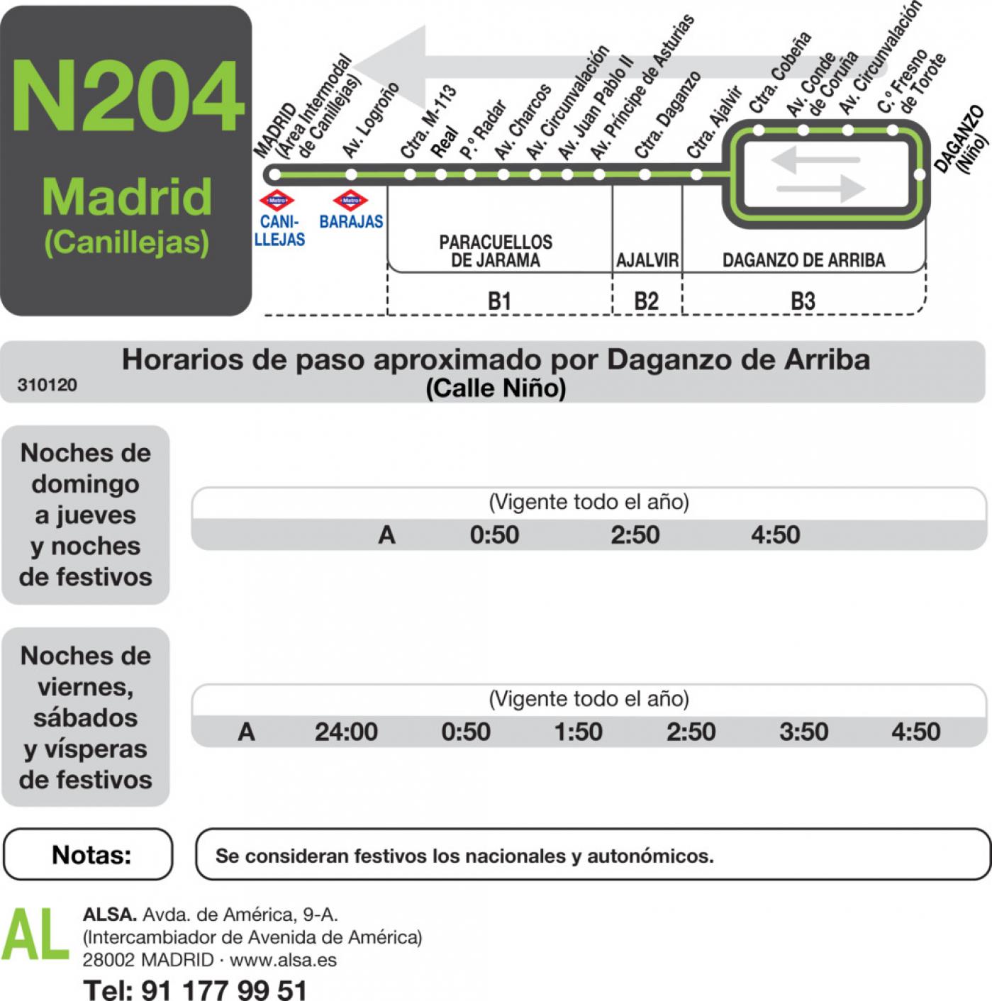 Tabla de horarios y frecuencias de paso en sentido vuelta Línea N-204: Madrid (Canillejas) - Paracuellos - Daganzo