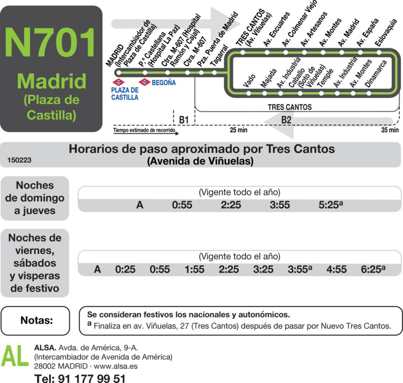 Tabla de horarios y frecuencias de paso en sentido vuelta Línea N-701: Madrid (Plaza Castilla) -Tres Cantos