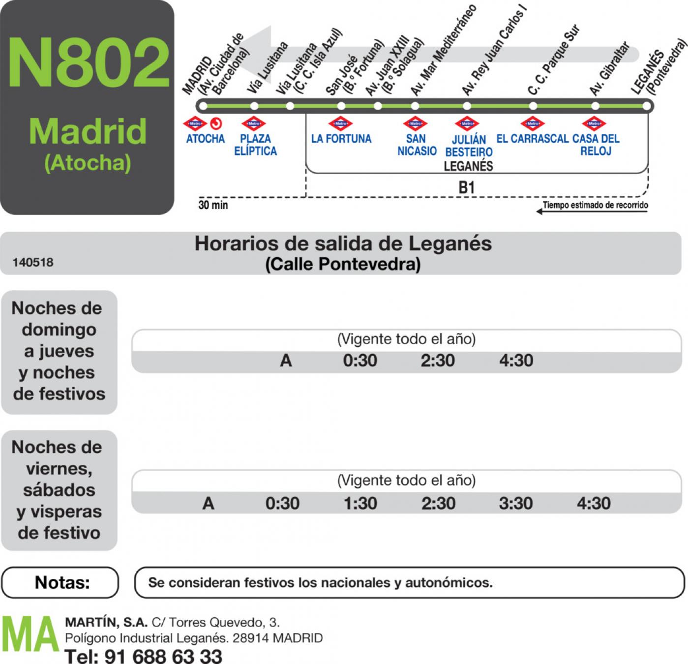 Tabla de horarios y frecuencias de paso en sentido vuelta Línea N-802: Madrid (Aluche) - Leganés