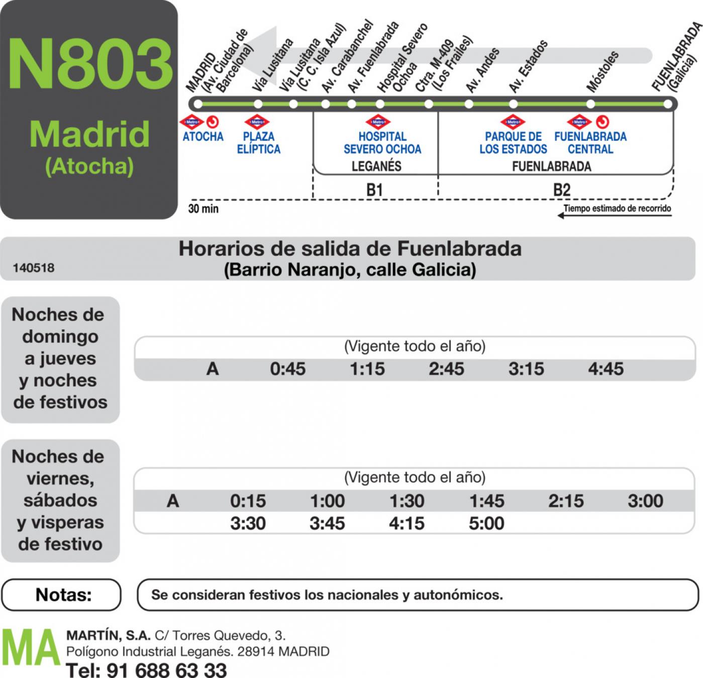 Tabla de horarios y frecuencias de paso en sentido vuelta Línea N-803: Madrid (Aluche) - Fuenlabrada (Barrio del Naranjo)