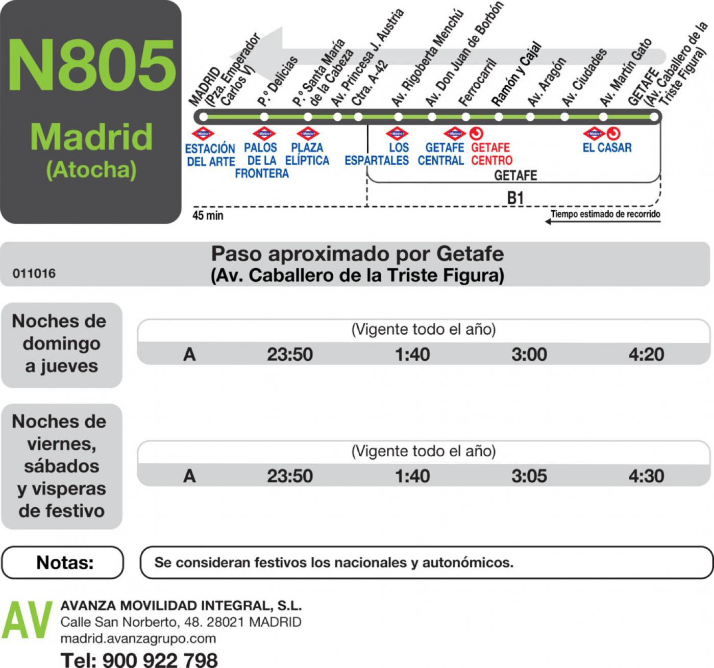 Tabla de horarios y frecuencias de paso en sentido vuelta Línea N-805: Madrid (Atocha) - Getafe (Centro - Sector III)