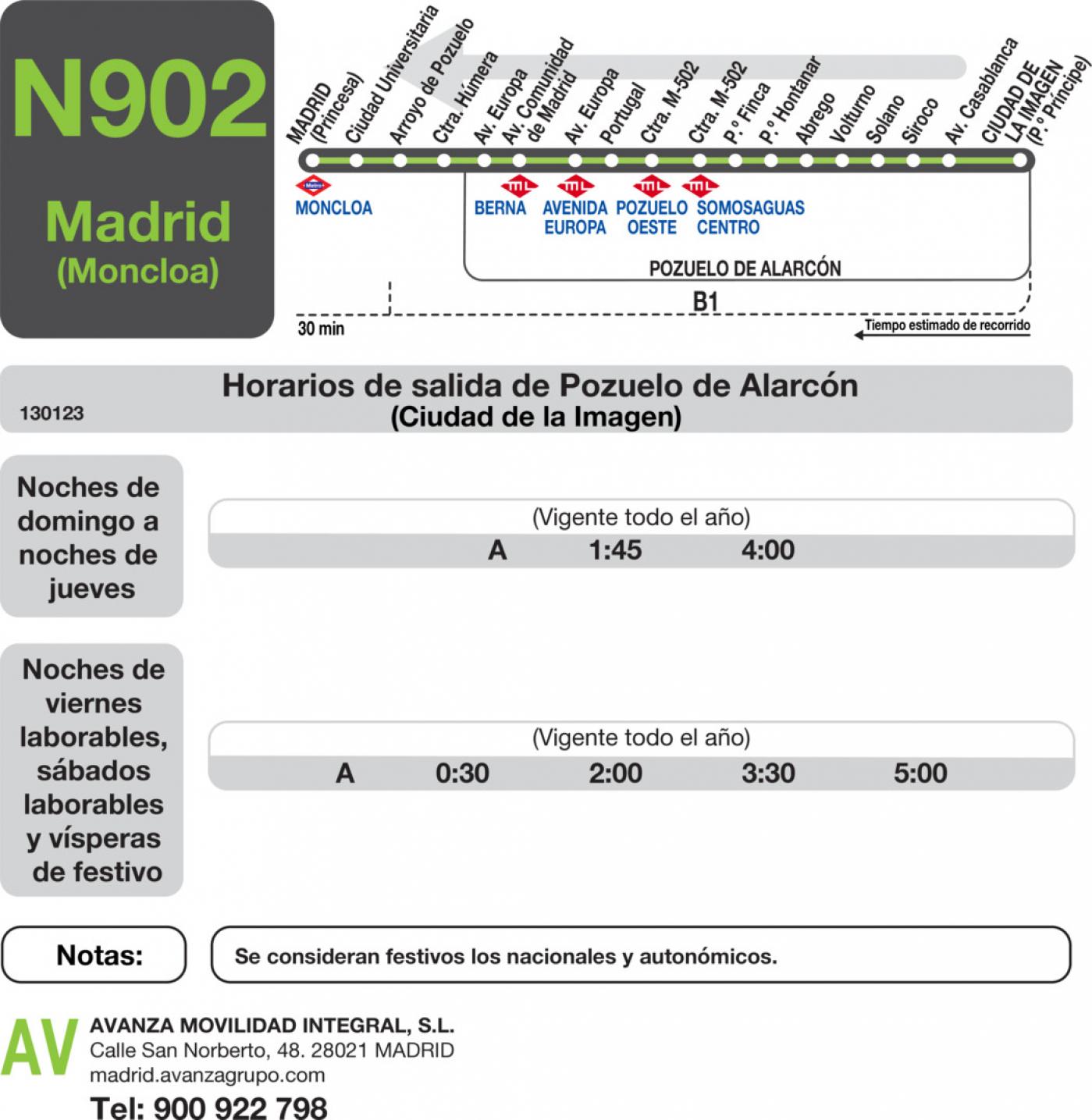 Tabla de horarios y frecuencias de paso en sentido vuelta Línea N-902: Madrid (Moncloa) - Pozuelo (Prado Somosaguas - Ciudad de la Imagen)