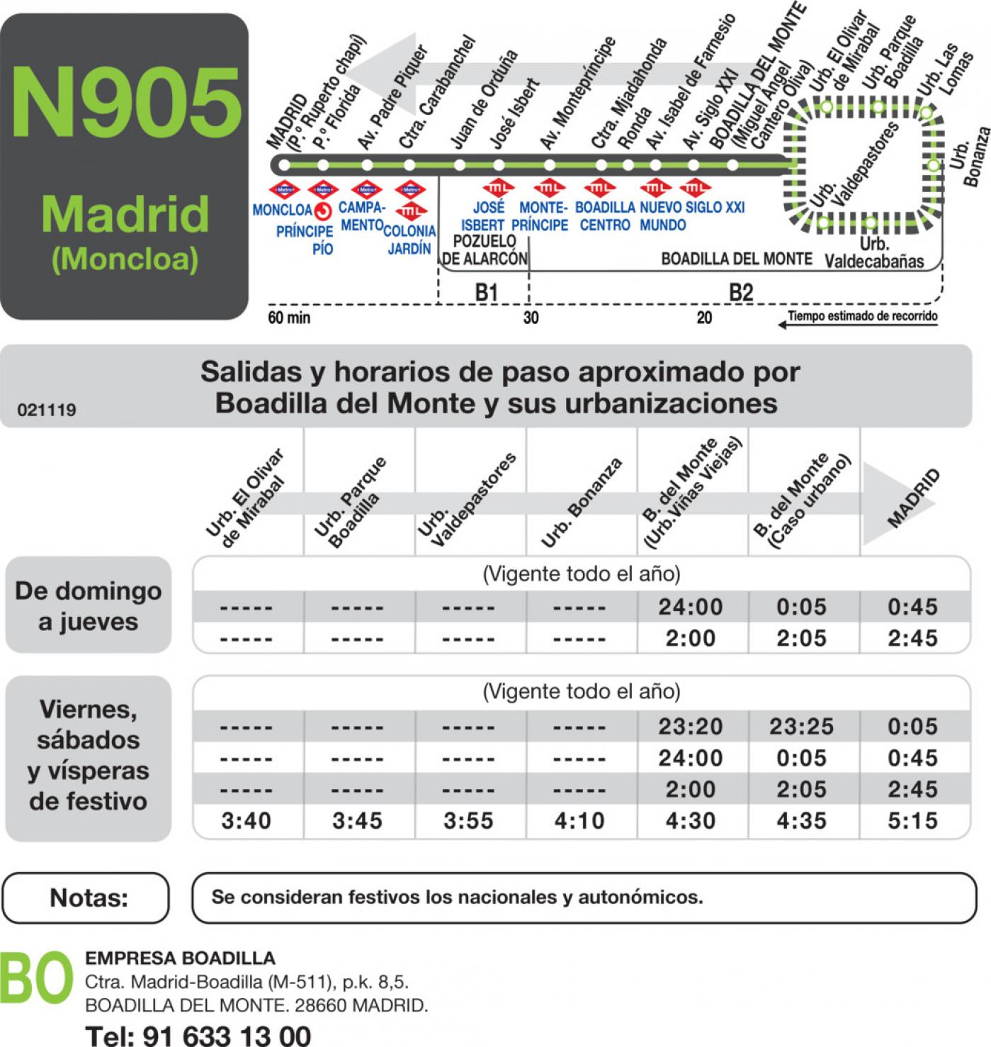 Tabla de horarios y frecuencias de paso en sentido vuelta Línea N-905: Madrid (Moncloa) - Boadilla del Monte