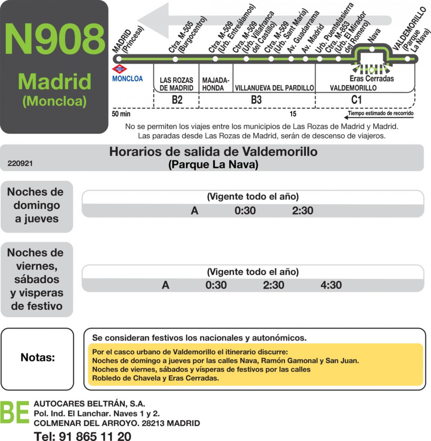 Tabla de horarios y frecuencias de paso en sentido vuelta Línea N-908: Madrid (Moncloa) - Villanueva del Pardillo - Valdemorillo