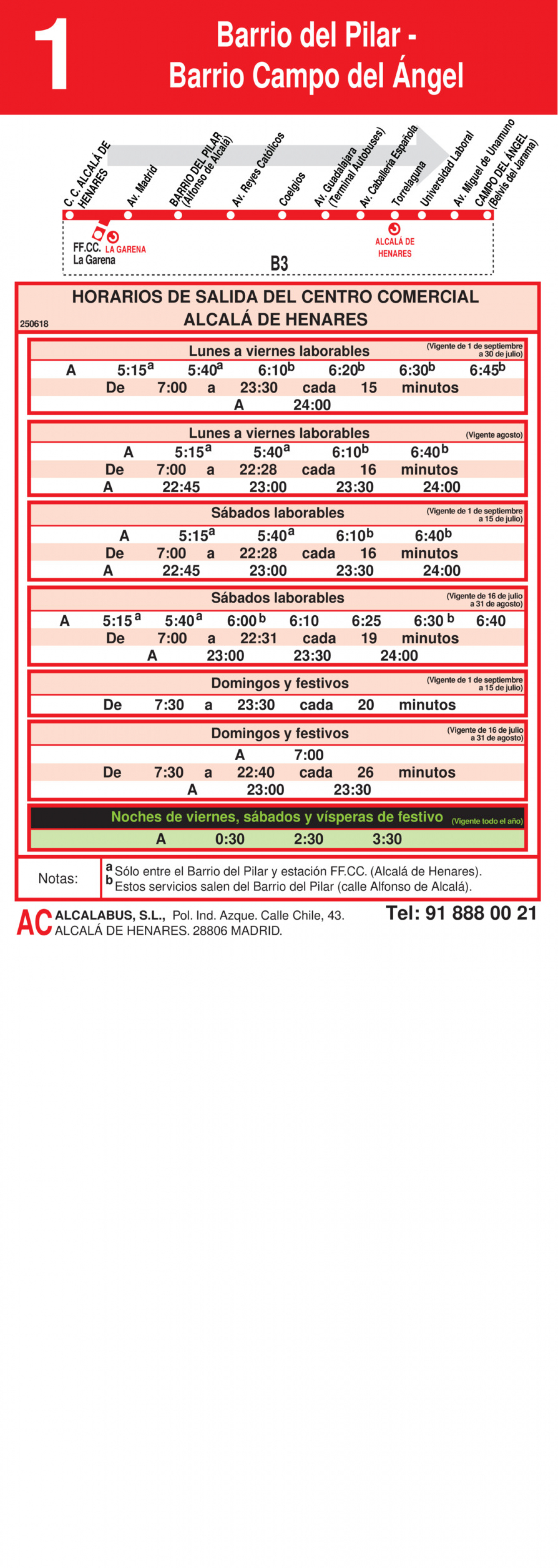 Tabla de horarios y frecuencias de paso en sentido ida Línea L-1 Alcalá de Henares: Barrio del Pilar - Barrio Campo del Ángel
