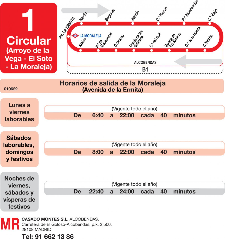 Tabla de horarios y frecuencias de paso en sentido ida Línea L-1 Alcobendas: Arroyo de la Vega - El Soto - La Moraleja