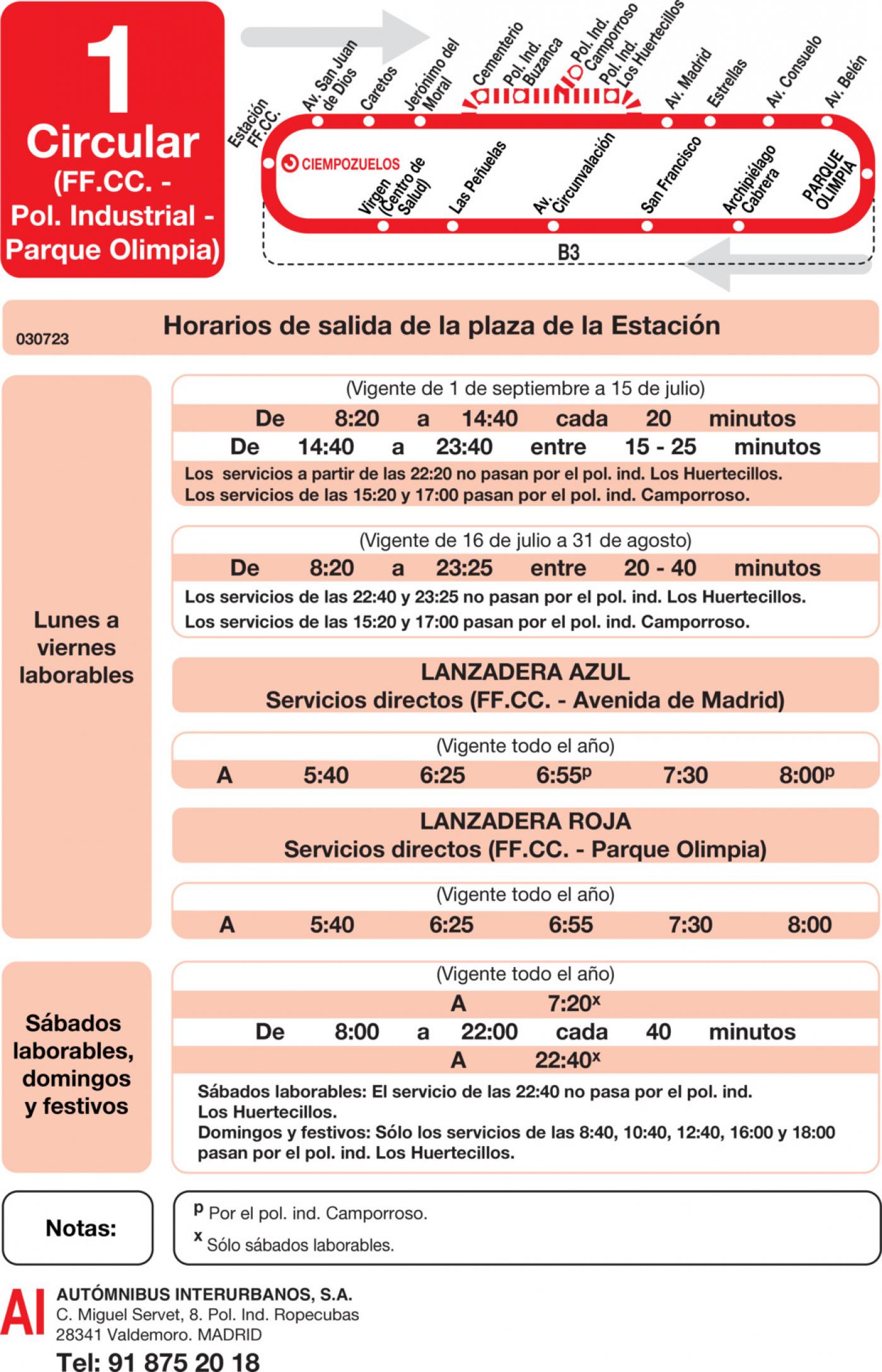 Tabla de horarios y frecuencias de paso en sentido ida Línea L-1 Ciempozuelos: Circular