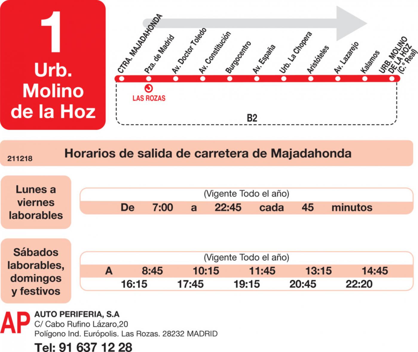 Tabla de horarios y frecuencias de paso en sentido ida Línea L-1 Las Rozas: Las Rozas - Urbanización Molino de la Hoz