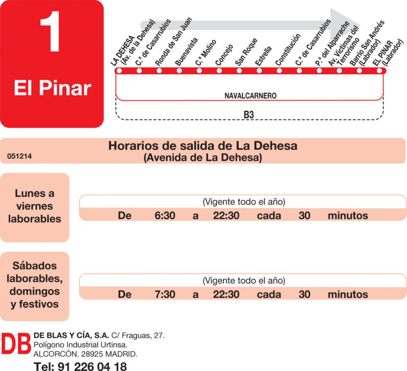 Tabla de horarios y frecuencias de paso en sentido ida Línea L-1 Navalcarnero: La Dehesa - El Pinar