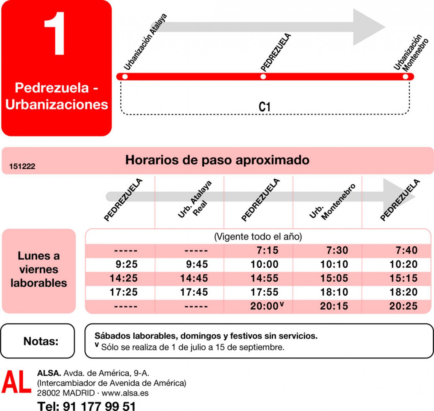 Tabla de horarios y frecuencias de paso en sentido ida Línea L-1 Pedrezuela: Pedrezuela - Urbanizaciones