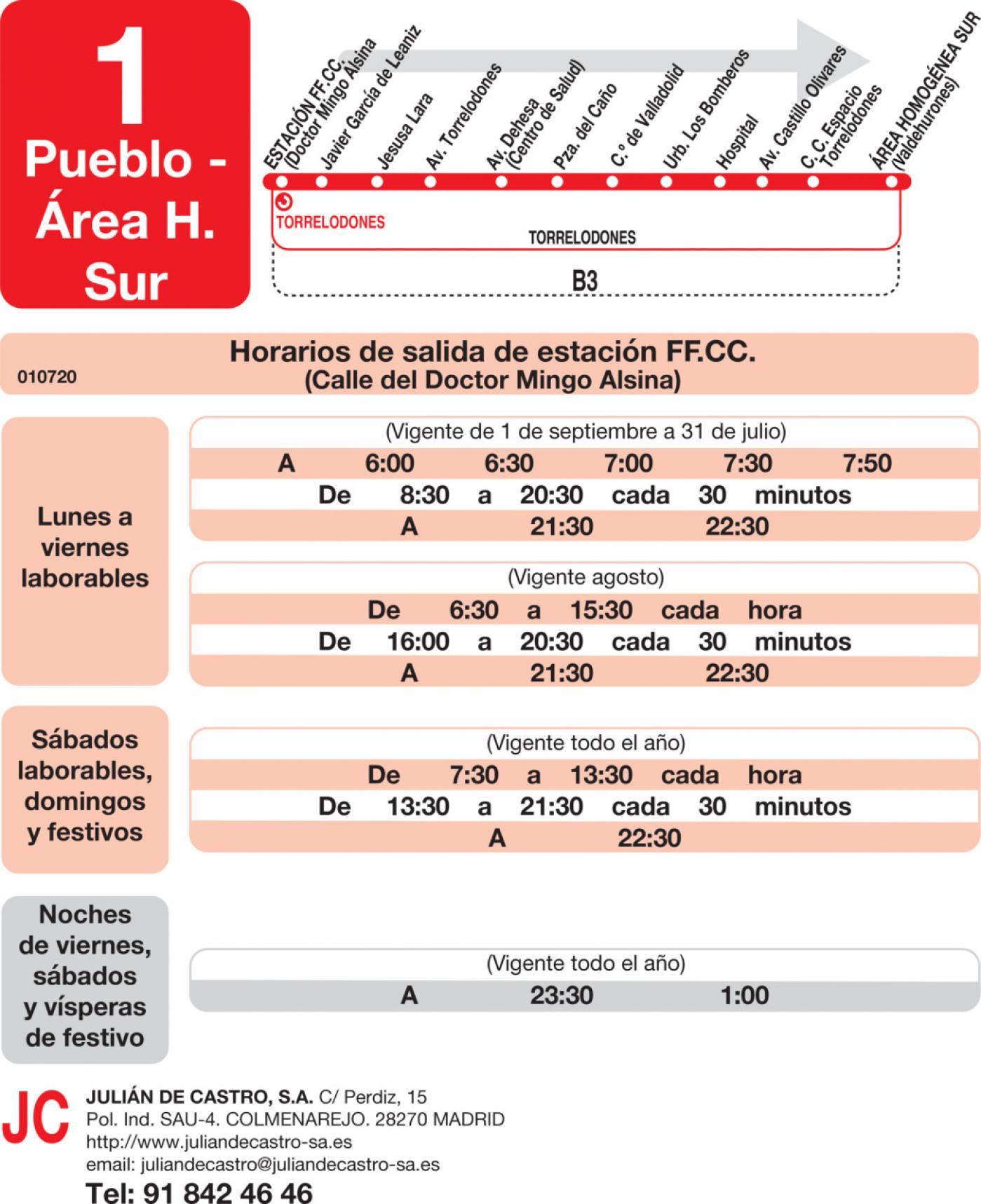 Tabla de horarios y frecuencias de paso en sentido ida Línea L-1 Torrelodones: Estación Cercanías RENFE - Colonia - Pueblo - Área Homogénea Sur