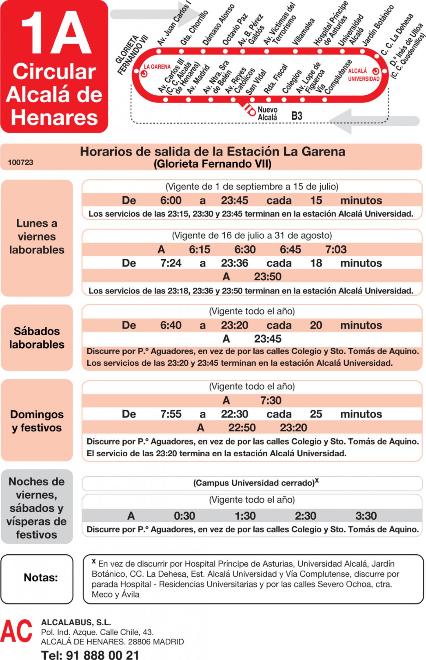 Tabla de horarios y frecuencias de paso en sentido ida Línea L-1A Alcalá de Henares: Circular