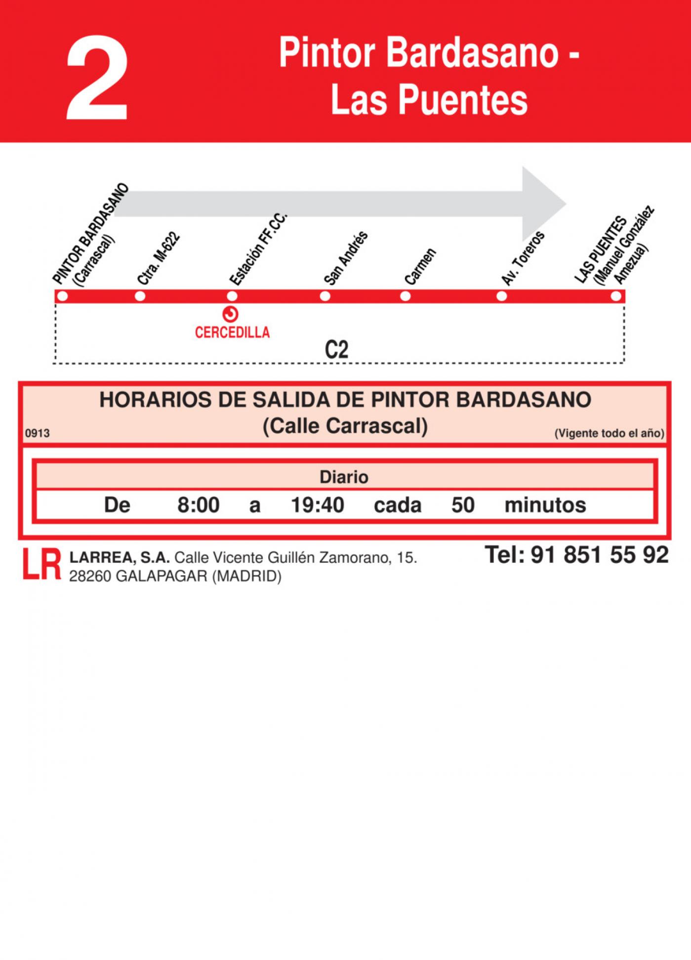 Tabla de horarios y frecuencias de paso en sentido ida Línea L-2 Cercedilla: Pintor Bardasano - Las Puentes
