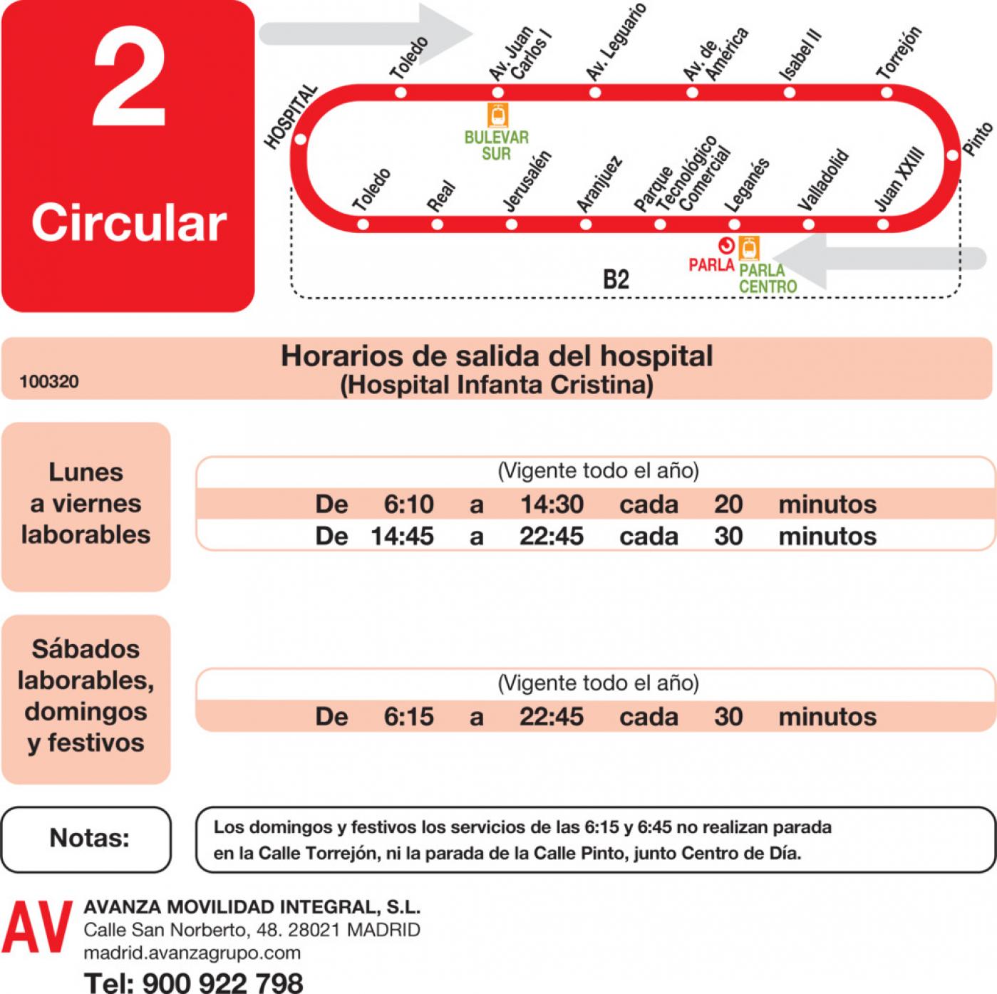 Tabla de horarios y frecuencias de paso en sentido ida Línea L-2 Parla: Circular